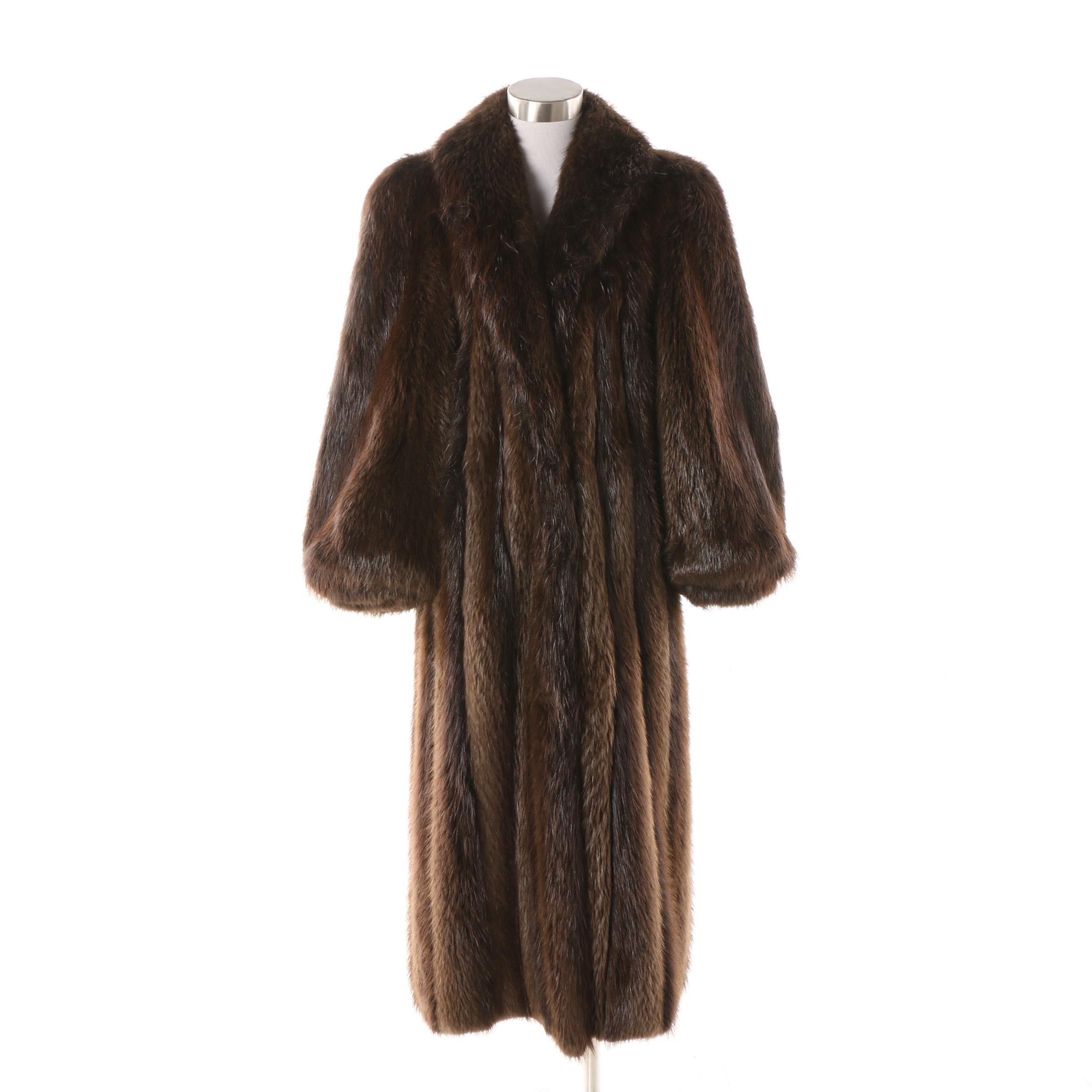 Circa 1980s Kastil Furs Beaver Fur Coat