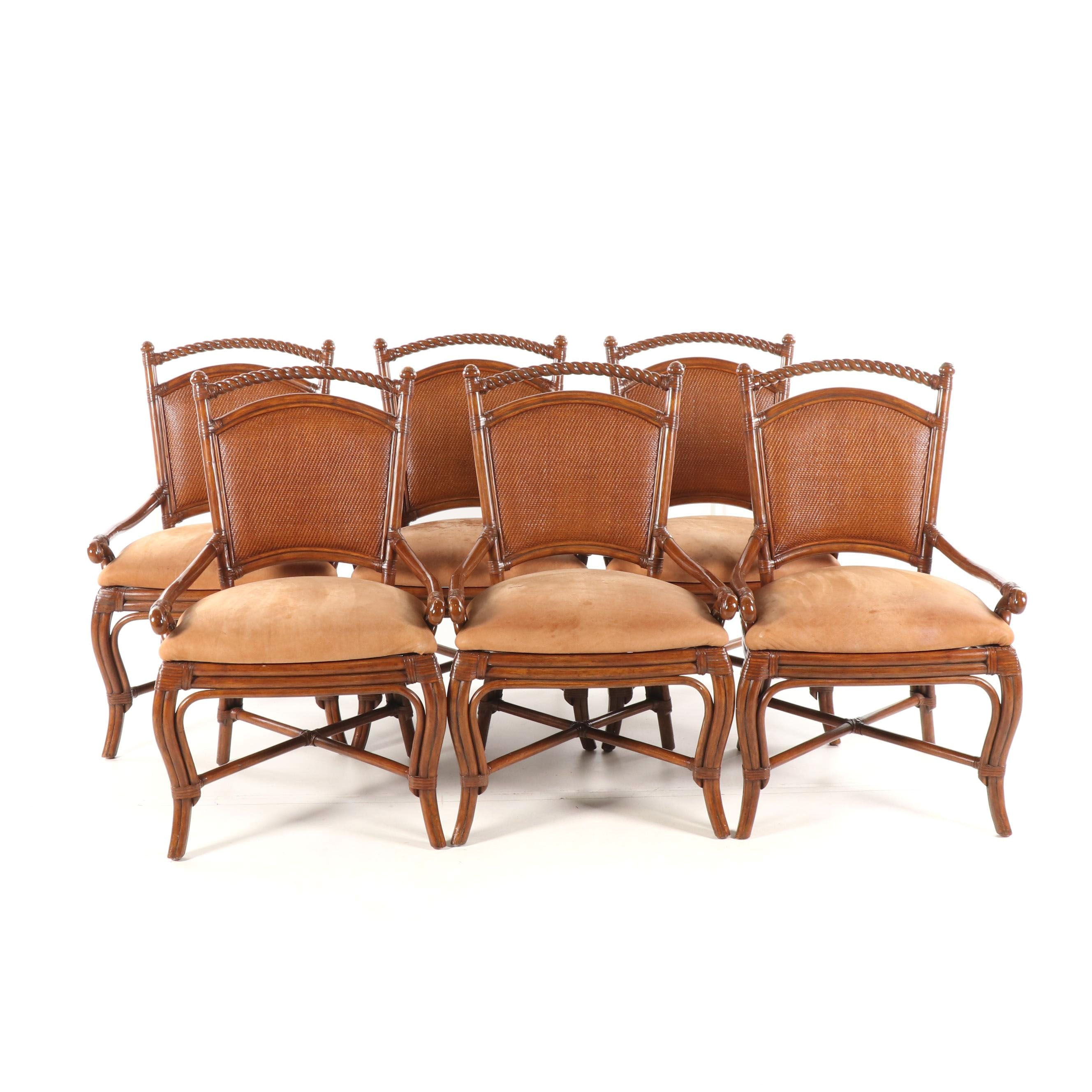 Faux Bamboo and Rattan Dining Chairs by Palecek, 21st Century