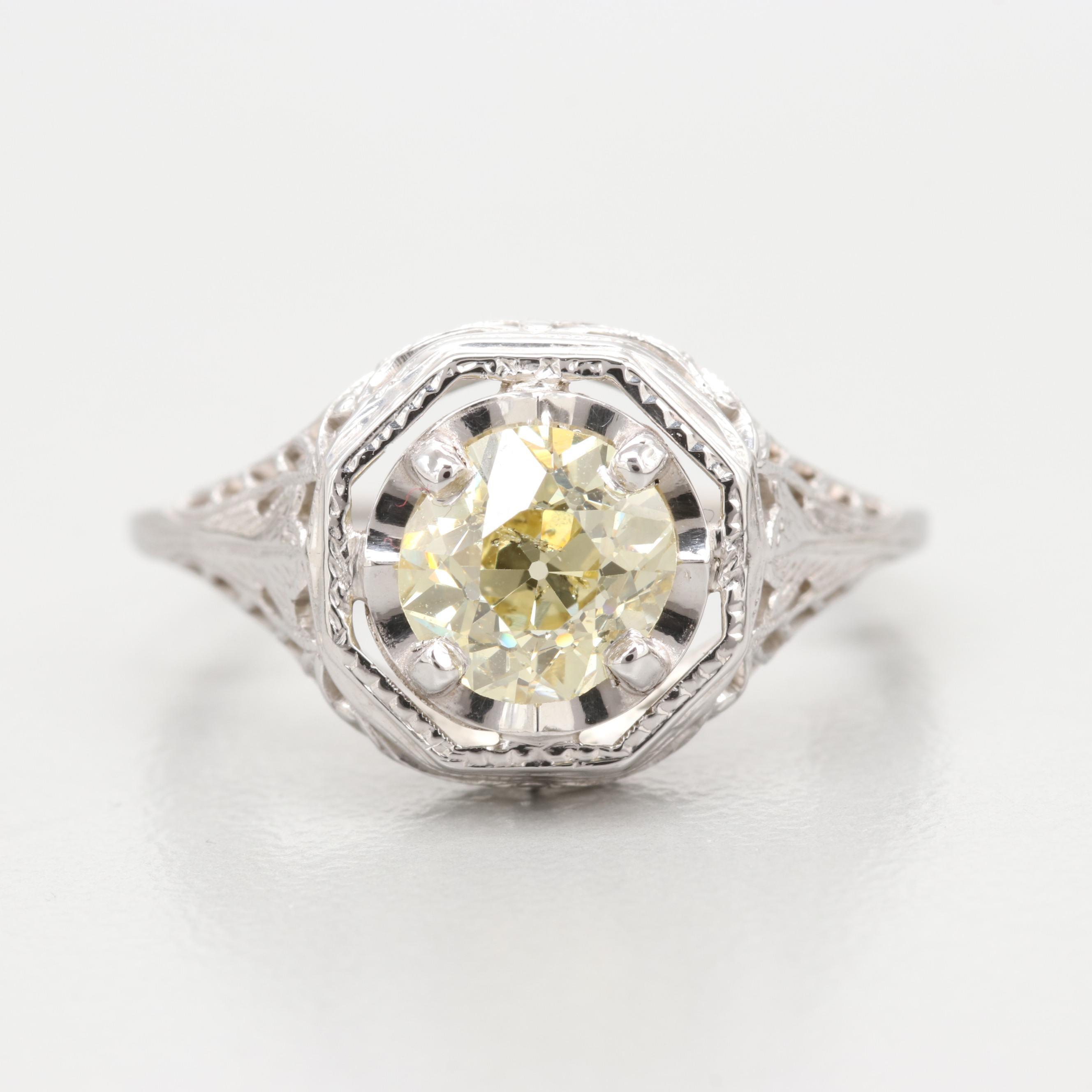 18K White Gold 1.10 CT Diamond Ring