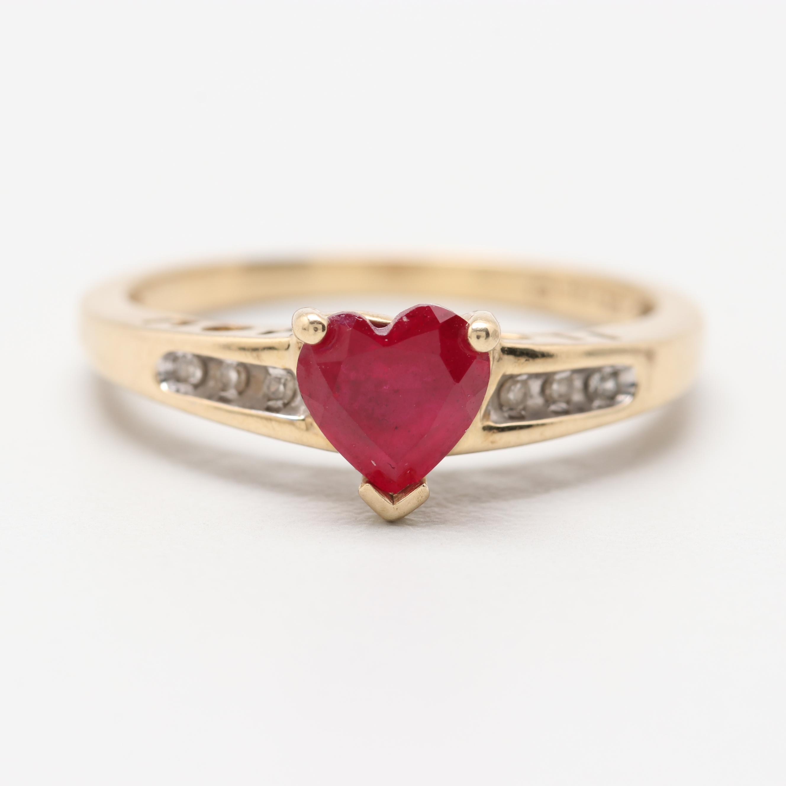 """10K Yellow Gold Synthetic Ruby and Diamond """"I Love You"""" Heart Ring"""