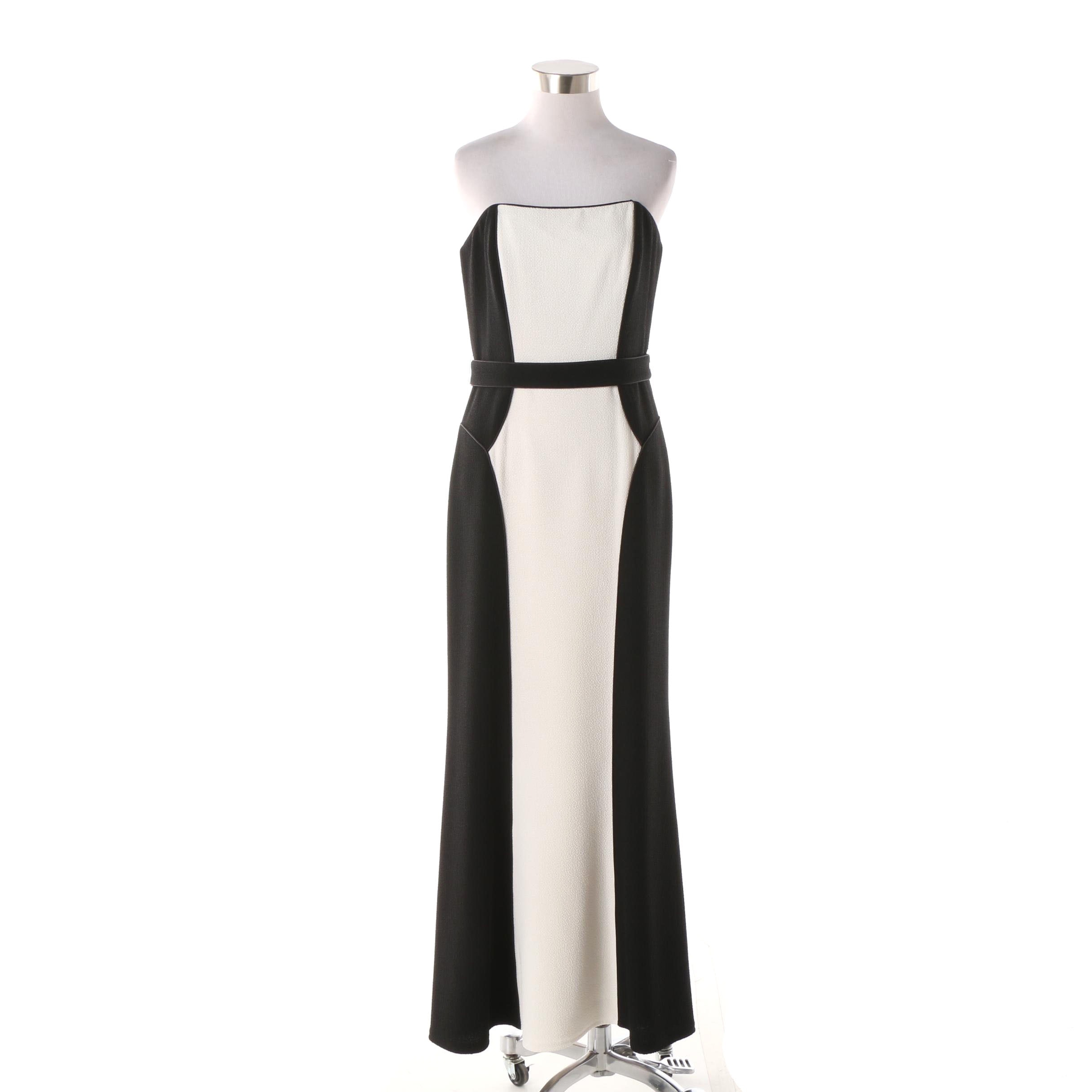 David Meister Black and White Strapless Occasion Gown