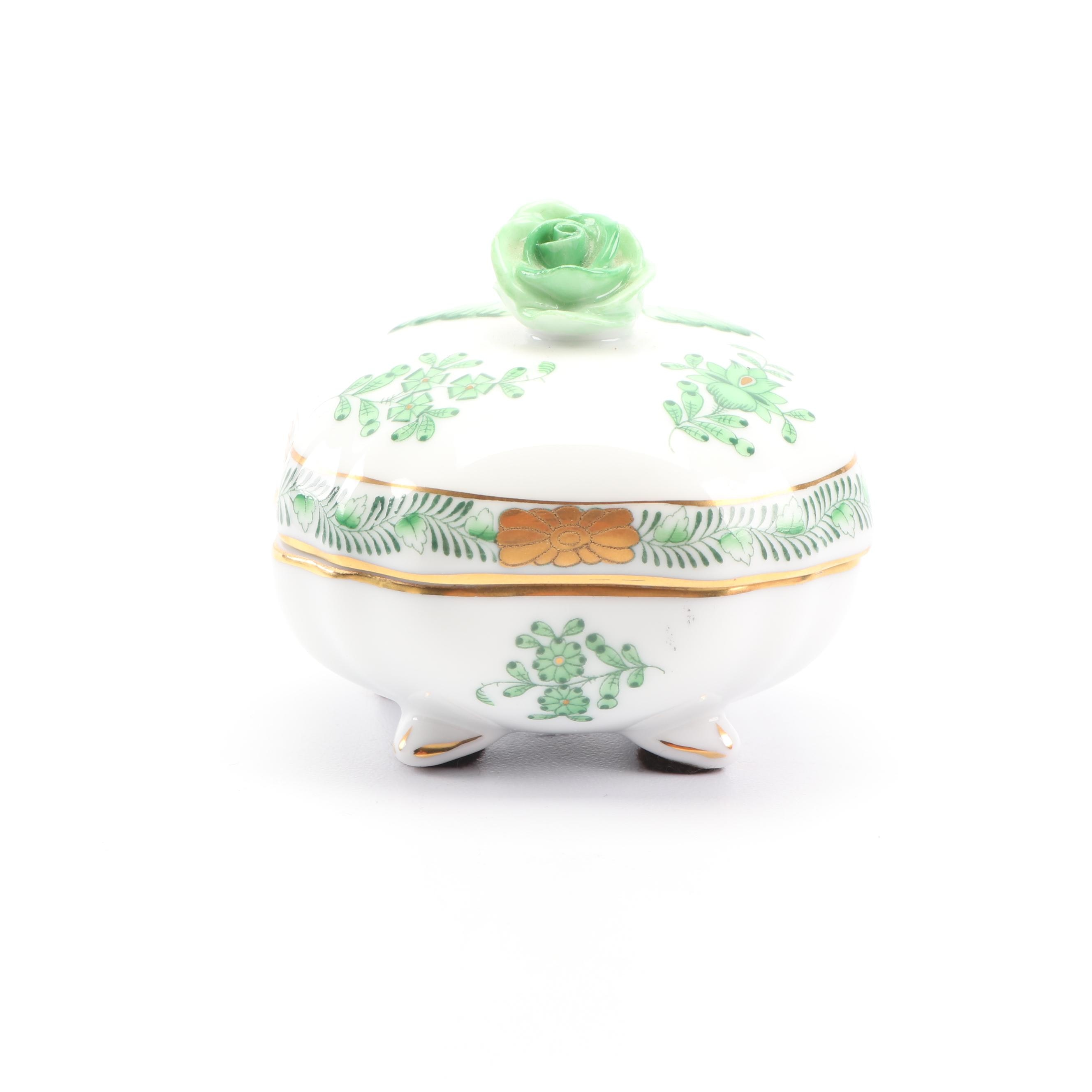"Herend ""Chinese Bouquet"" Green Porcelain Footed Trinket Box"