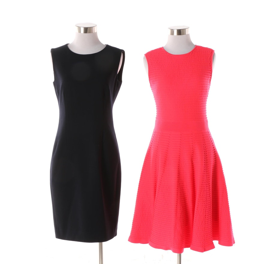 Ted Baker Bright Pink Fit And Flare And Max Mara Black Sleeveless