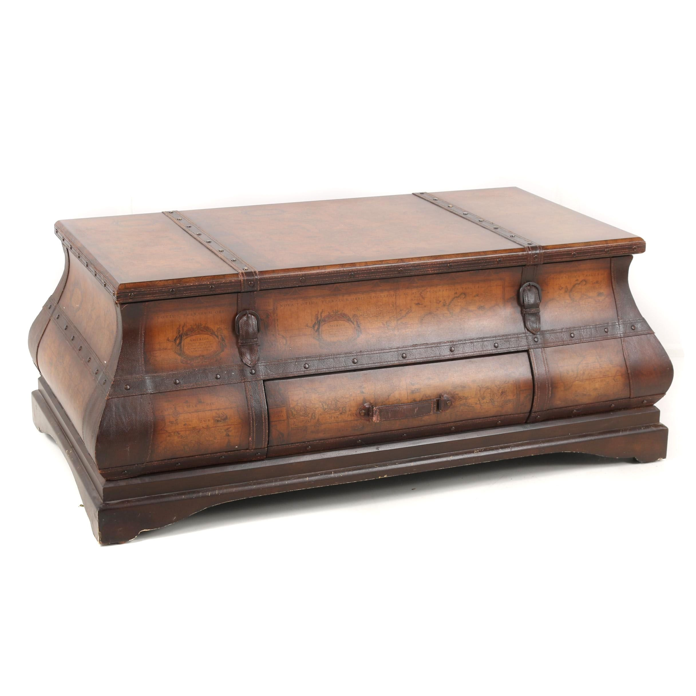Faux Map Bombe Trunk Style Coffee Table, 21st Century