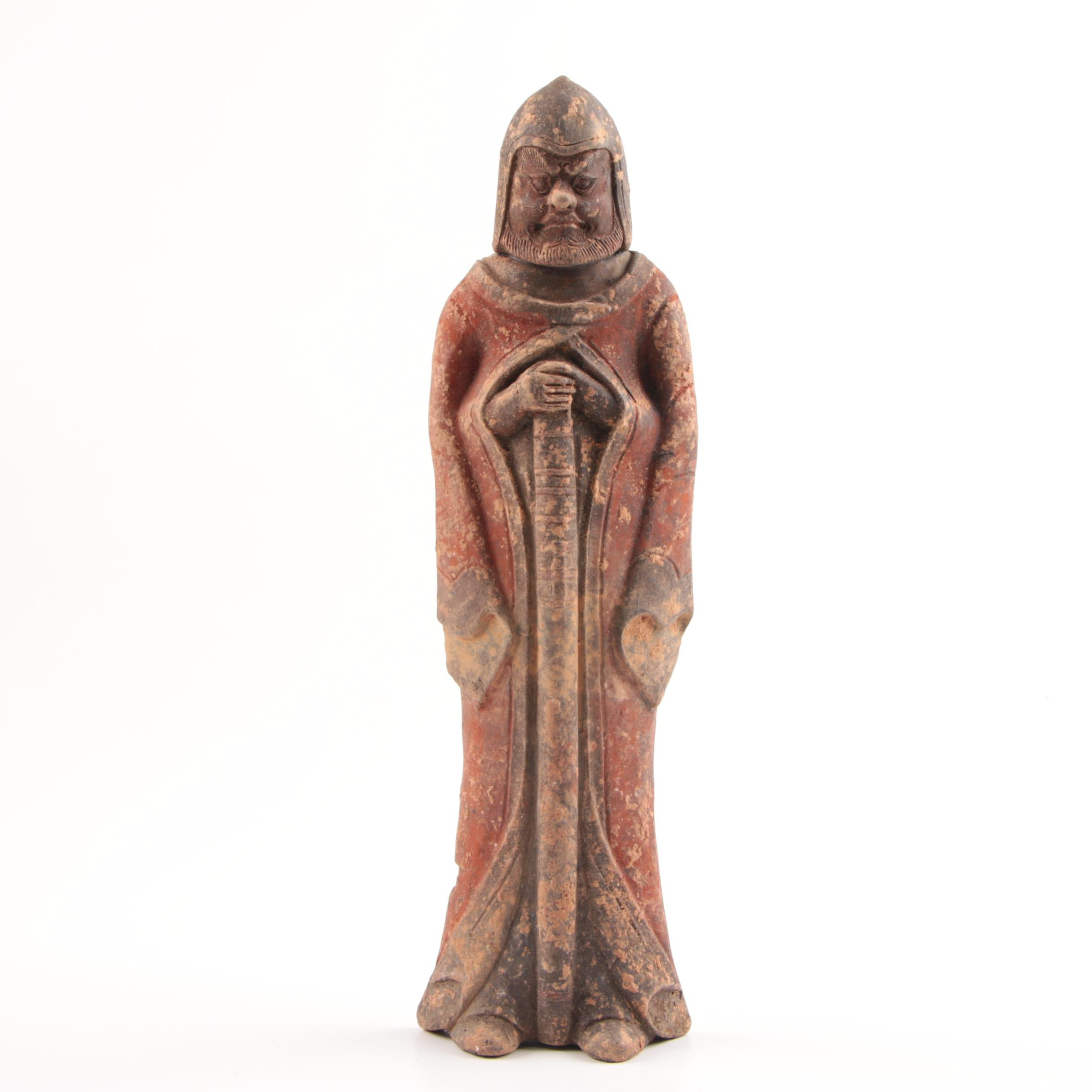 Chinese Northern Wei (AD 386 - 534) Painted Gray Pottery Soldier
