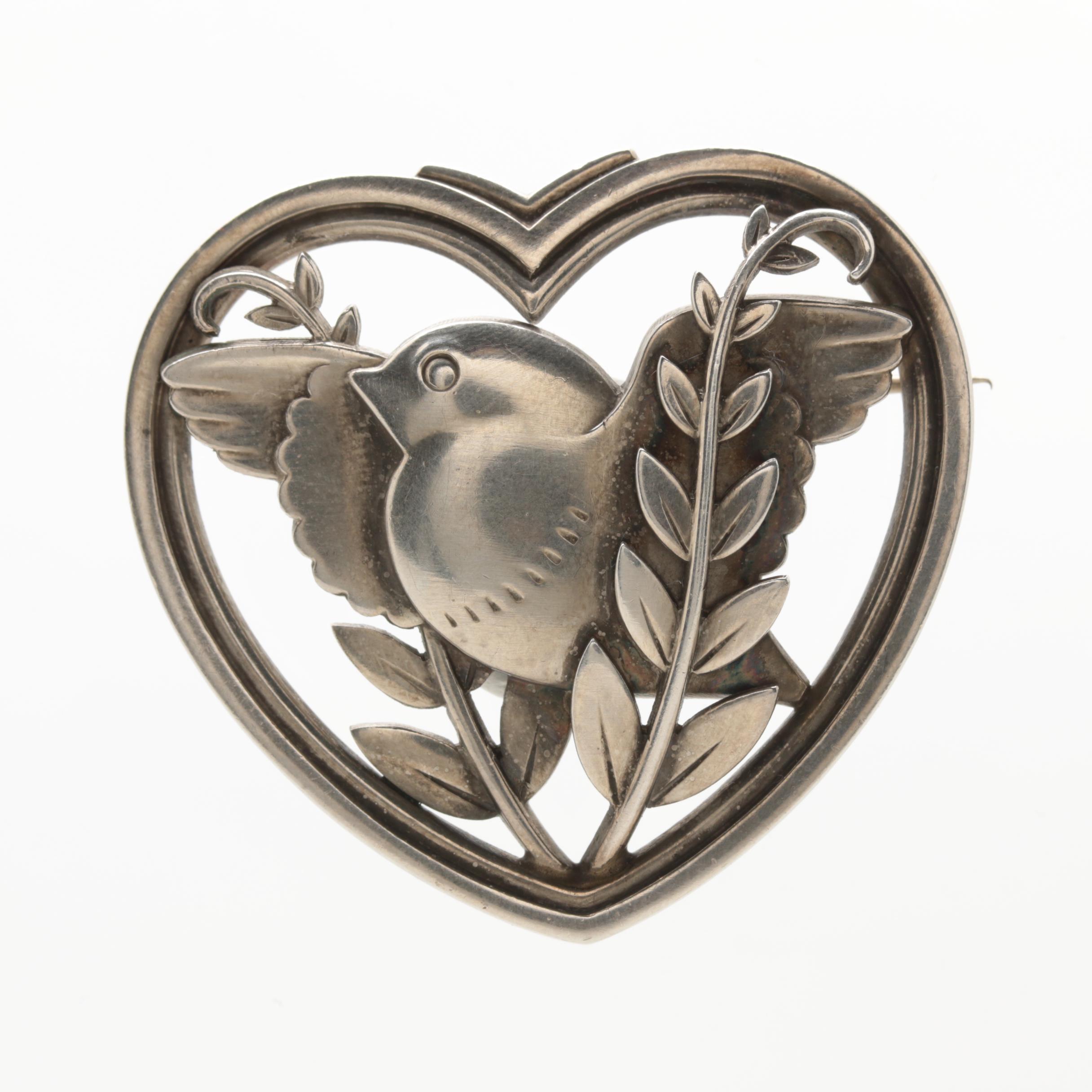 Vintage Georg Jensen Sterling Silver Heart Framed Dove with Olive Branch