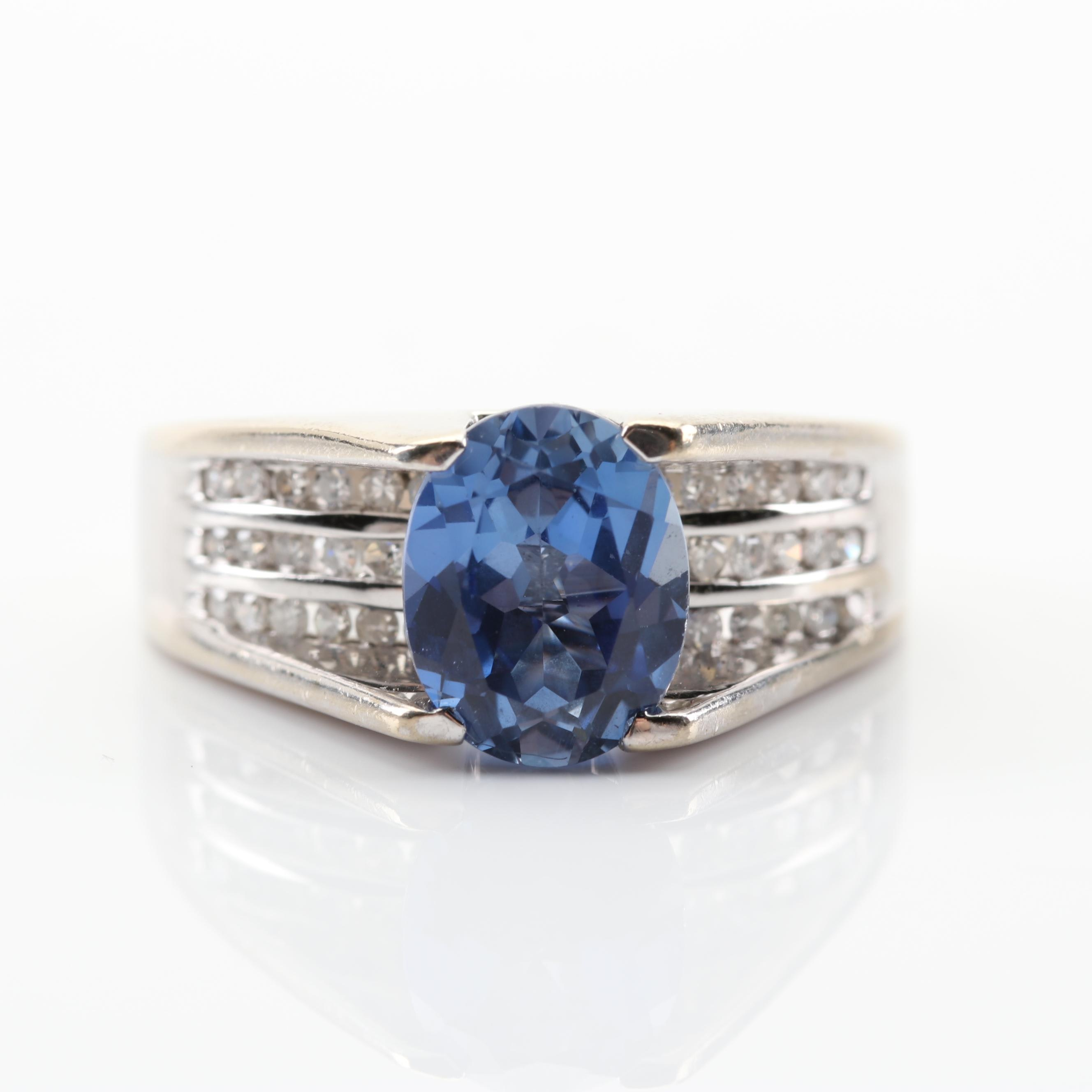 10K White Gold 2.47 CT Sapphire and Diamond Ring