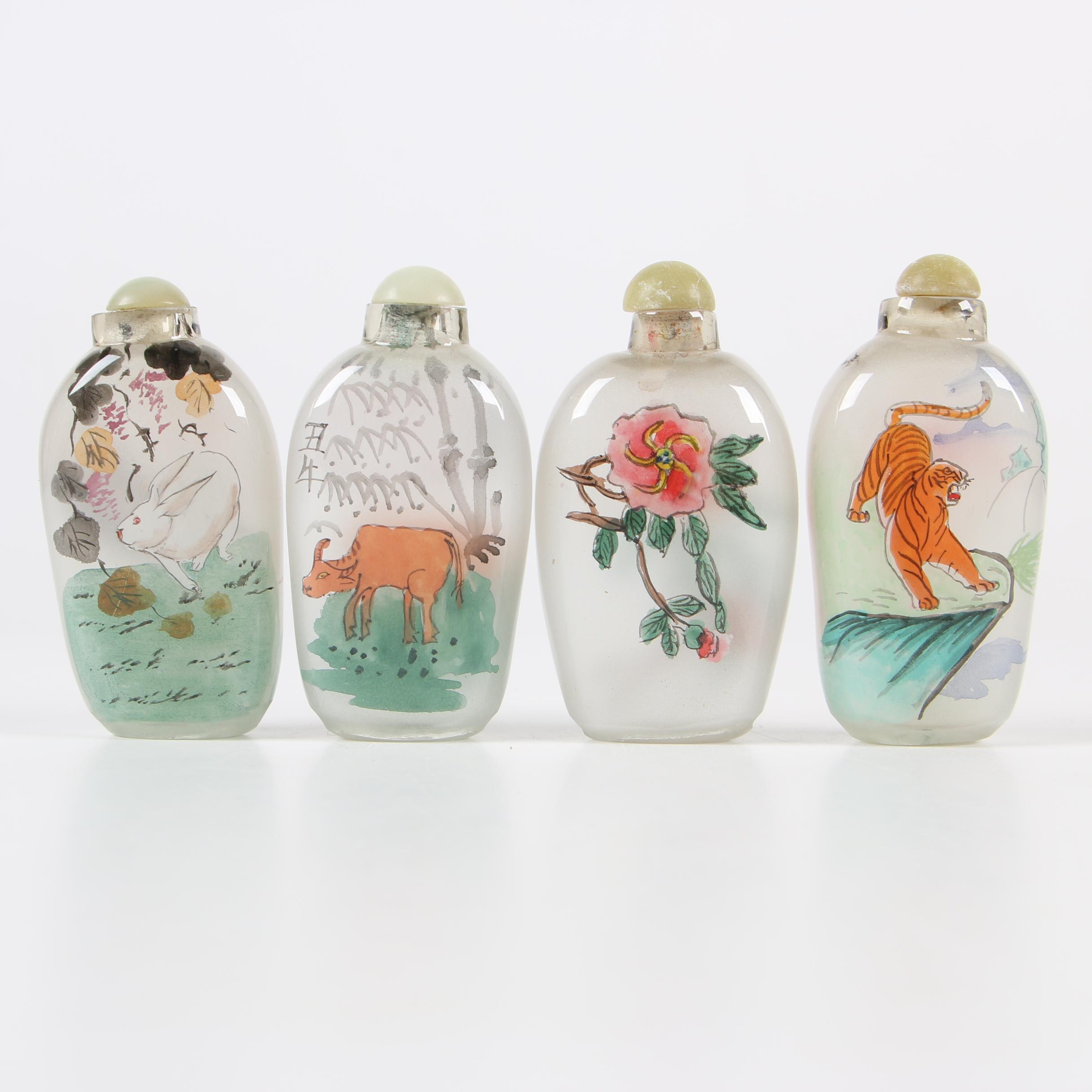 East Asian Painted Glass Snuff Bottles