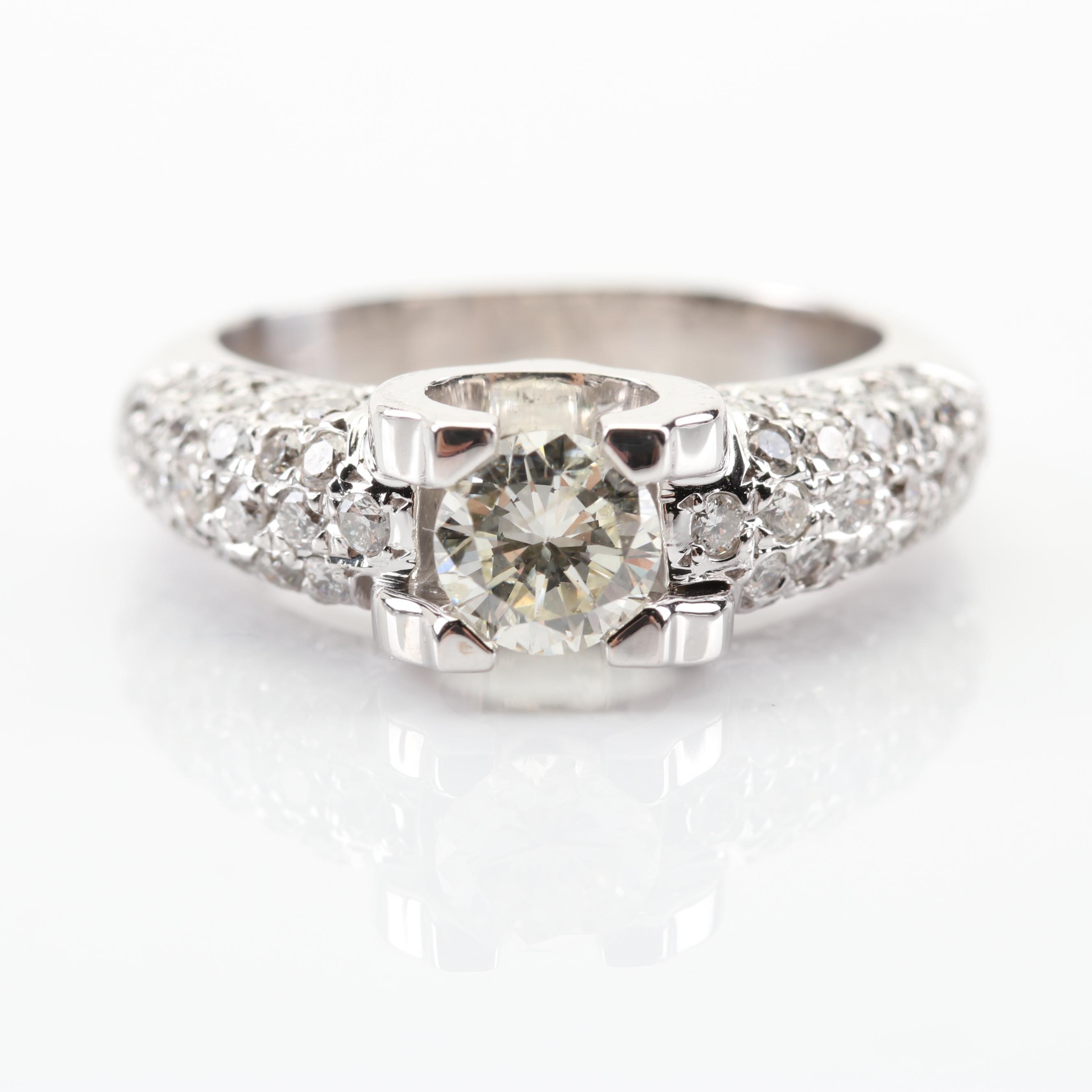18K White Gold 1.60 CTW Diamond Ring