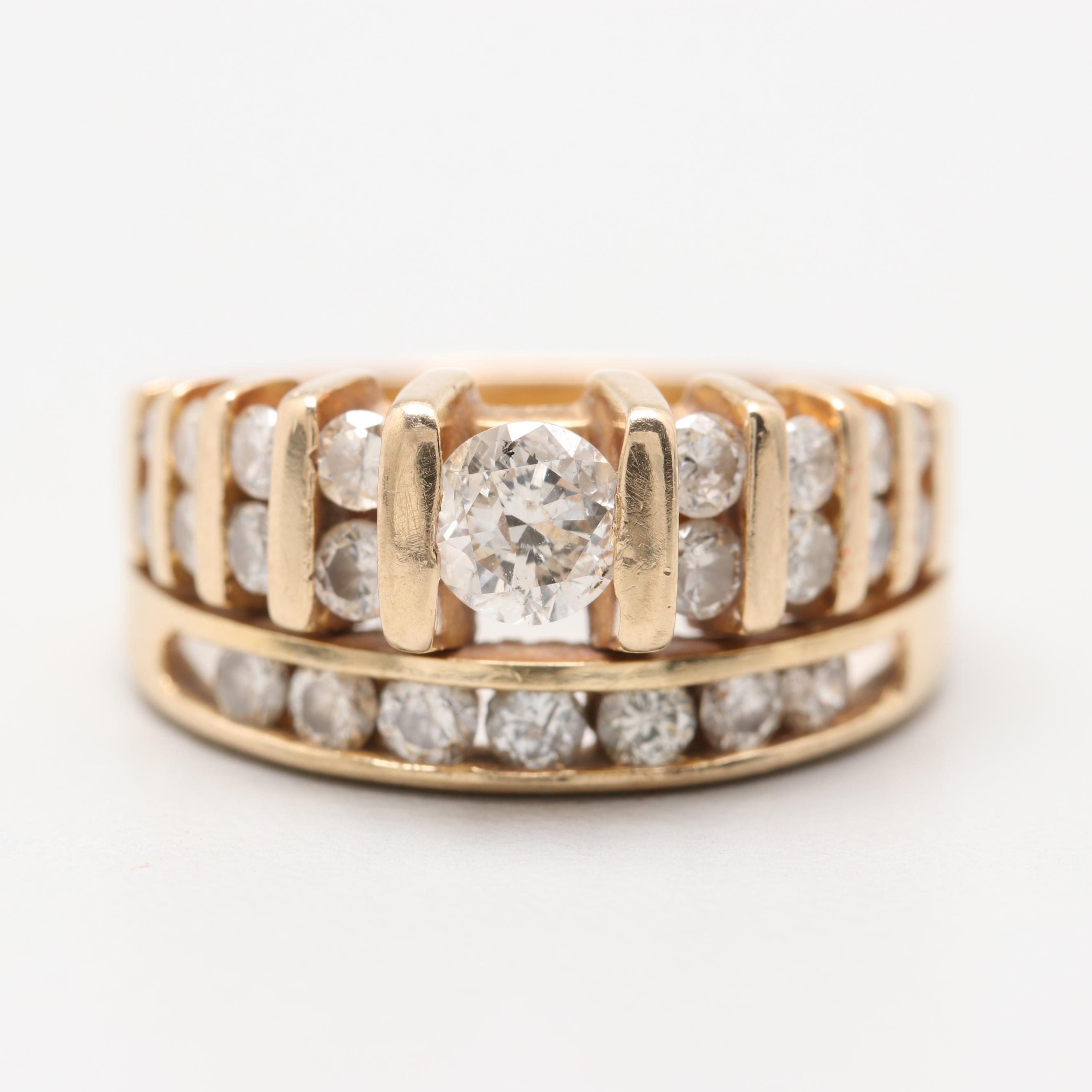 14K Yellow Gold 1.13 CTW Diamond Ring