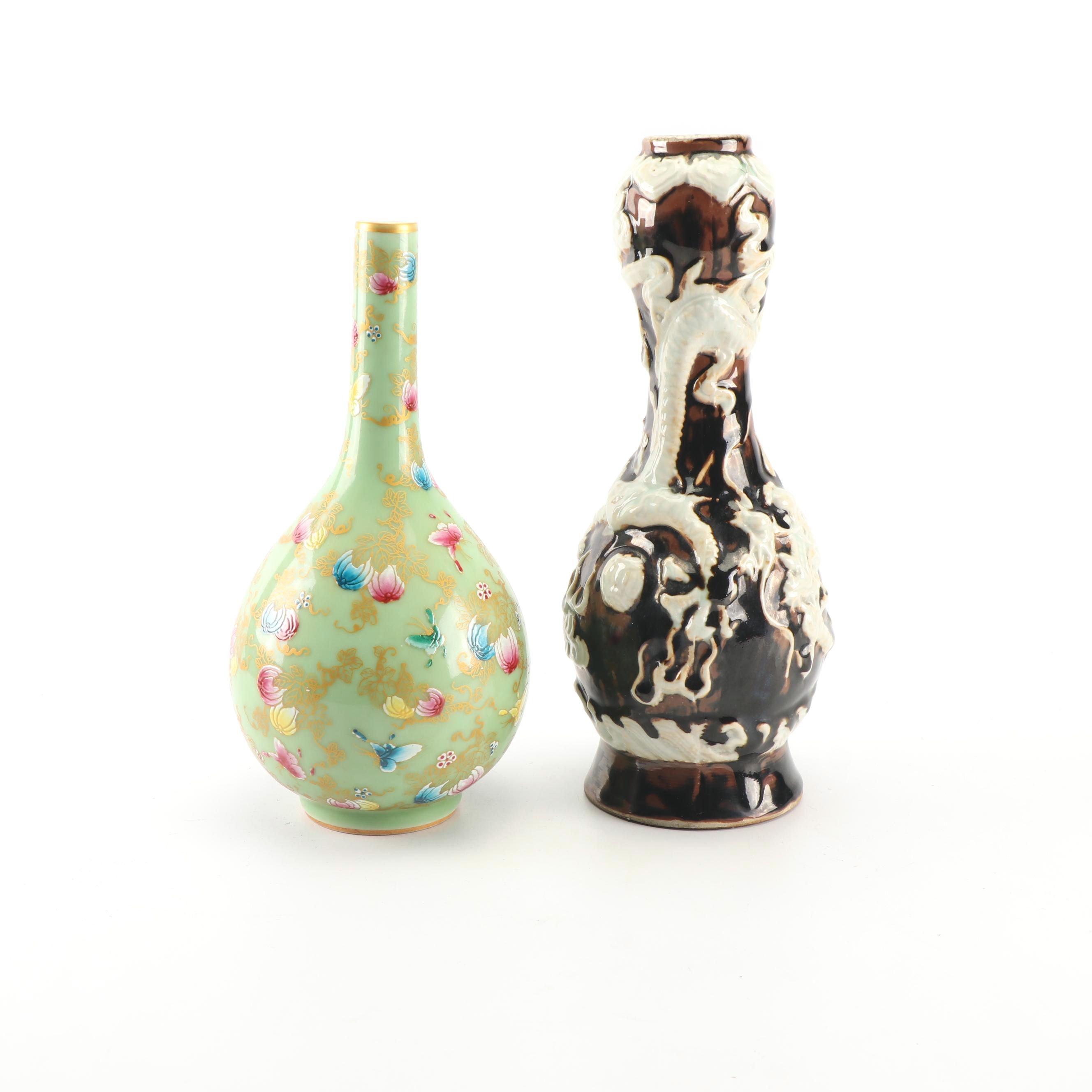 Chinese High Relief Dragon Vase and Celadon Glazed Vase with Overglaze Enamel