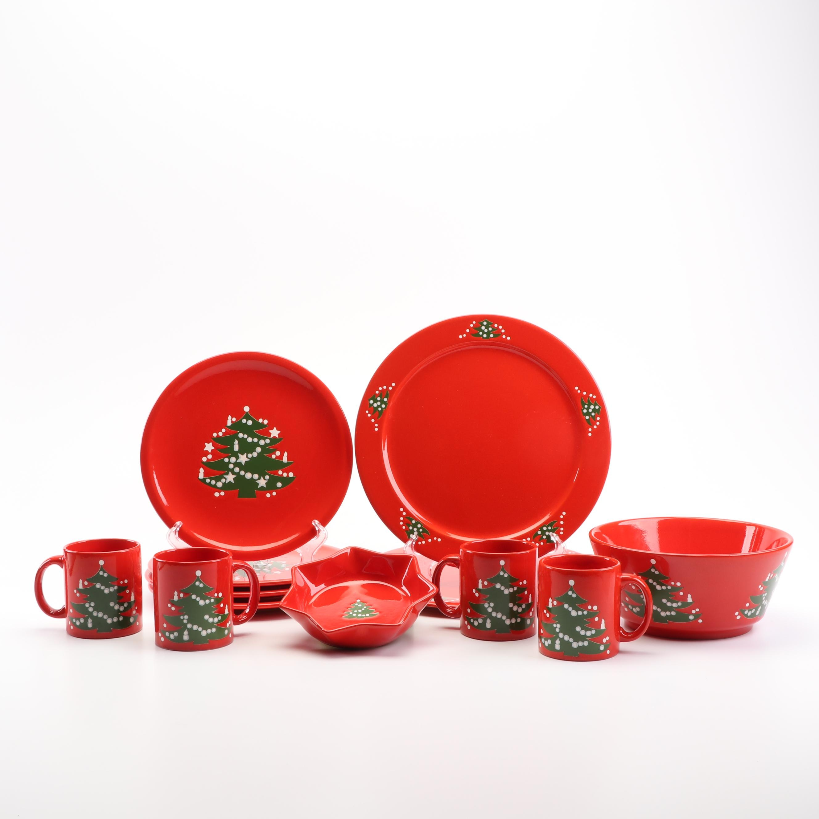"Waechtersbach West Germany ""Christmas Tree"" Dinnerware and Serving Pieces"
