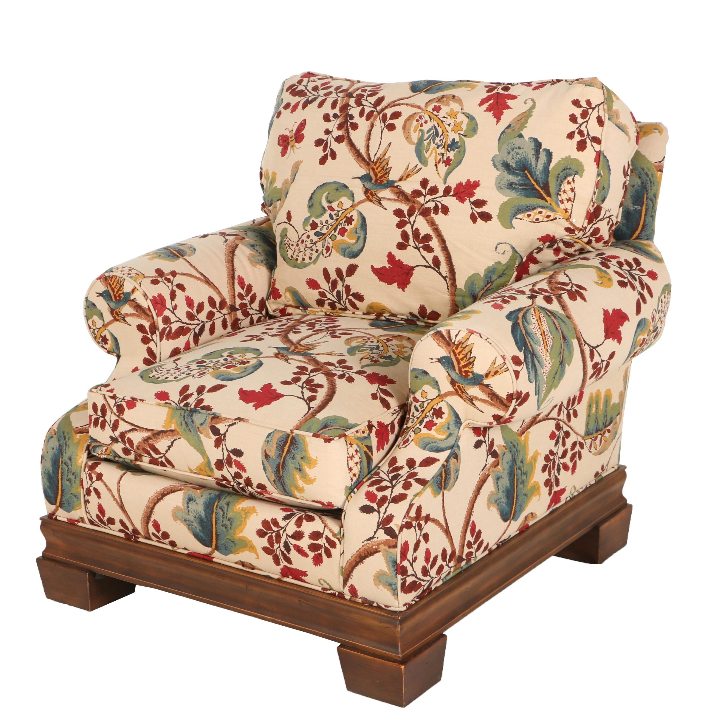 Contemporary Foliate-Patterned Armchair by Stanford