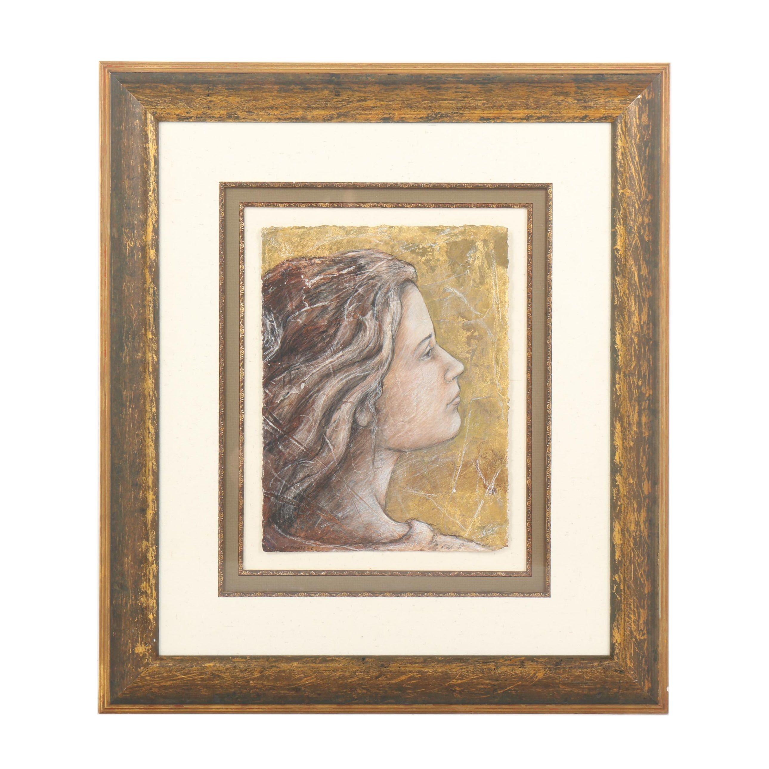 "R. Hogland ""Facade-C"" Mixed Media Portrait Illustration"