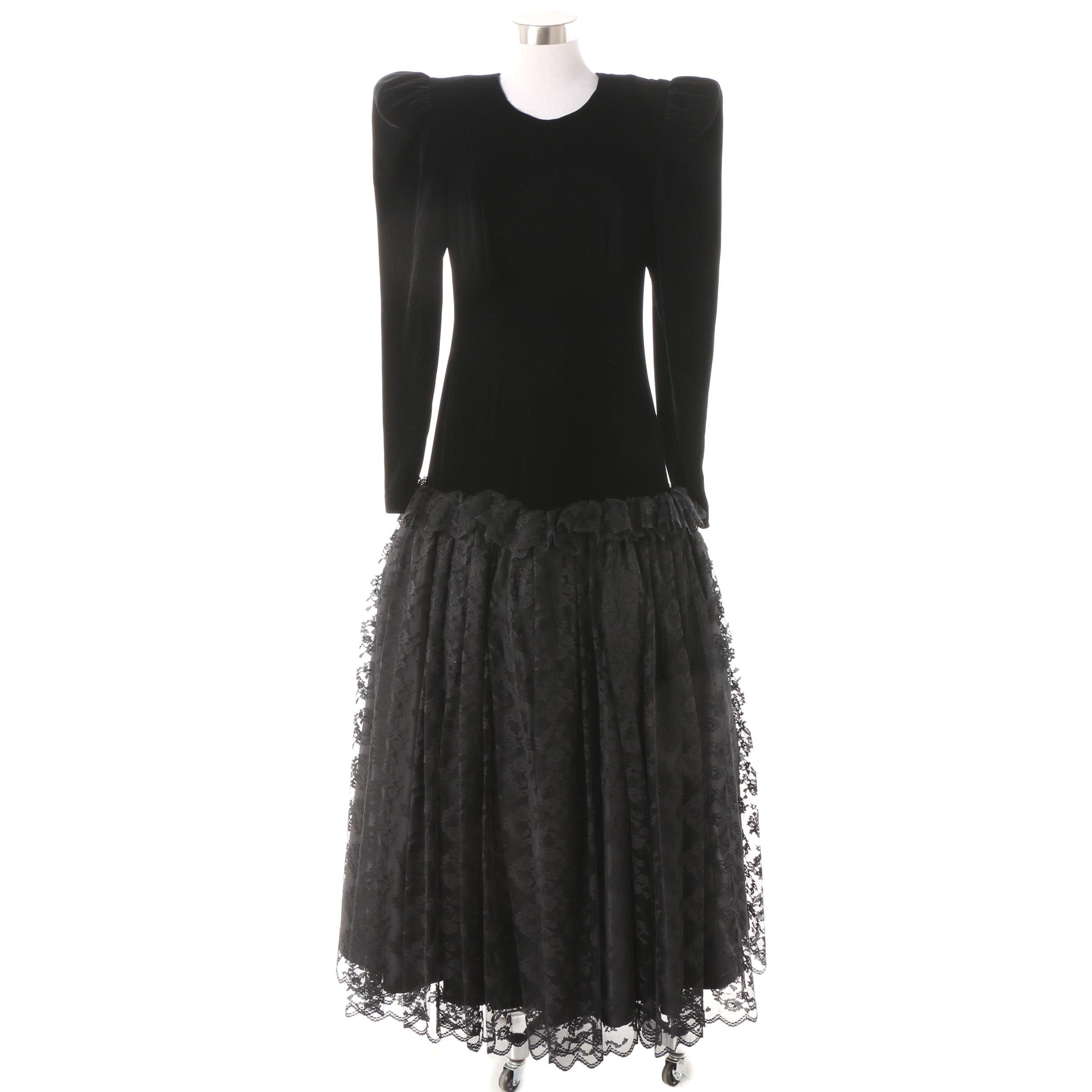 Circa 1980s Wayne Clark Black Velvet and Lace Drop Waist Evening Gown
