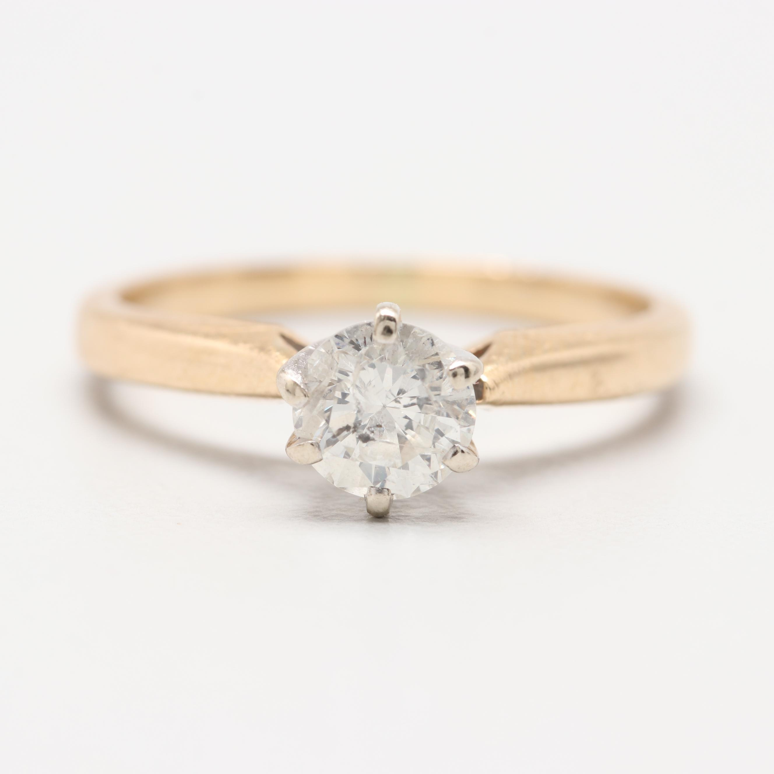14K Yellow Gold and 10K White Gold Diamond Ring
