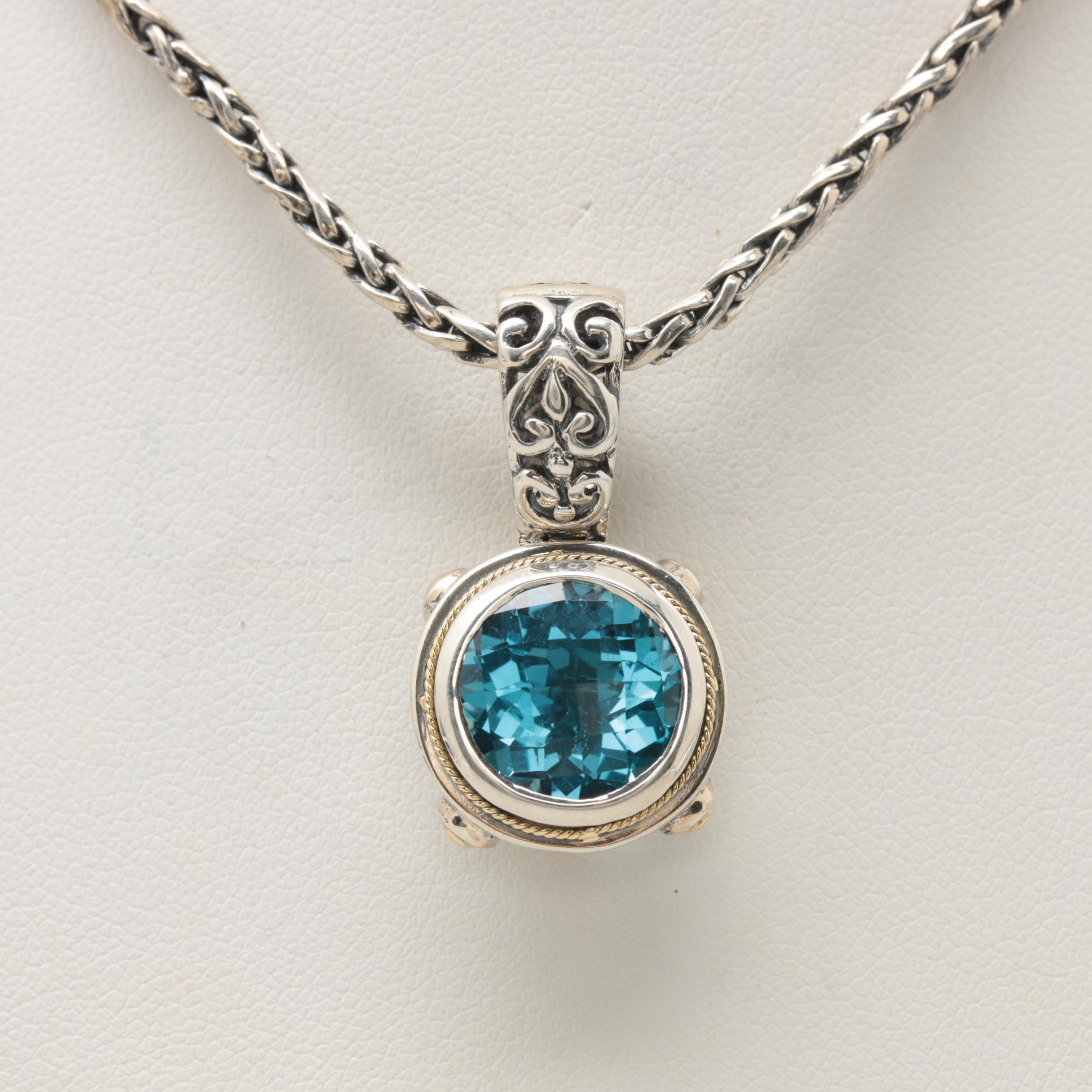 Effy Sterling Silver Blue Topaz Necklace with 18K Yellow Gold Accents