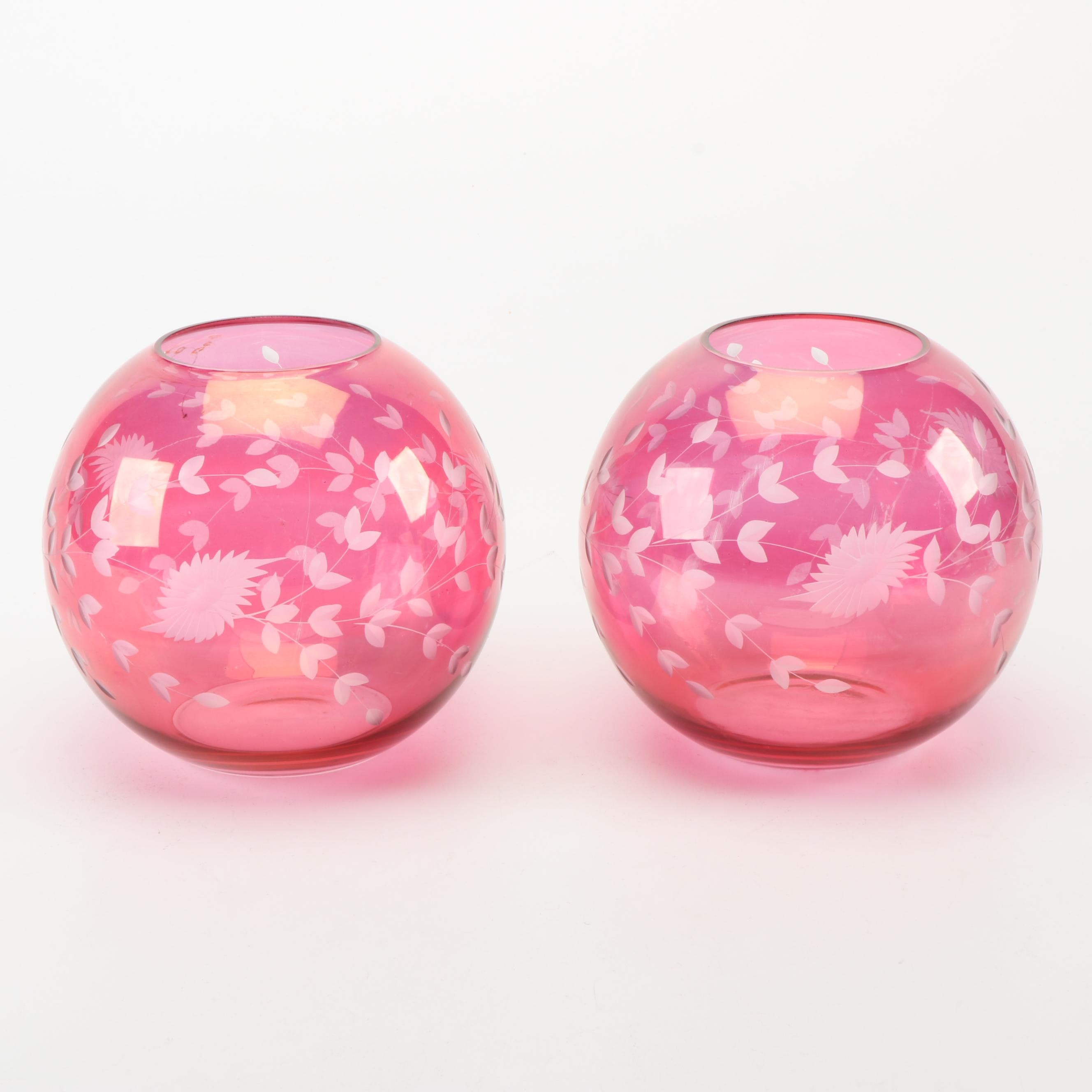 Floral Themed Glass Globe Bowls