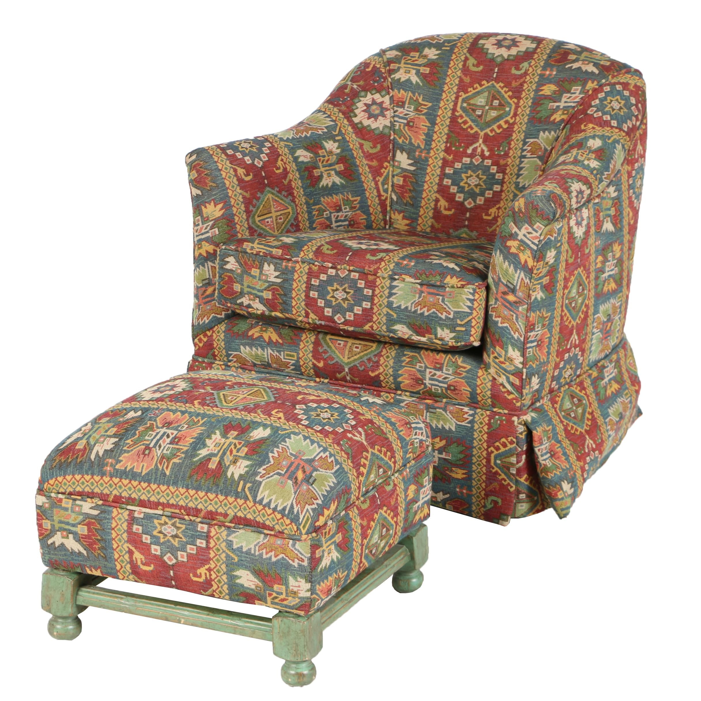 Contemporary Caucasian Kilim-Patterned Swivel Armchair with Ottoman
