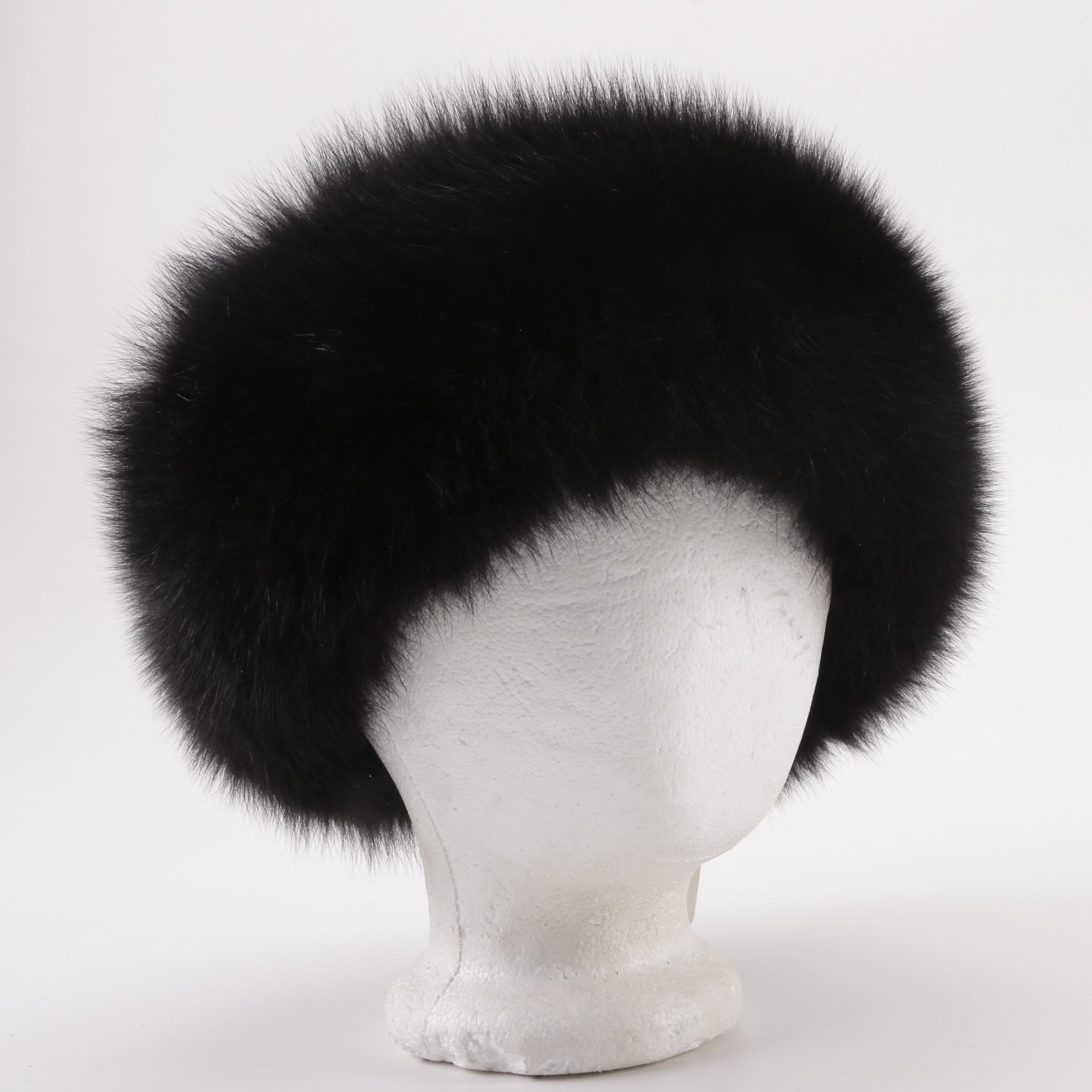 Neiman Marcus Dyed Black Fox Fur Headband