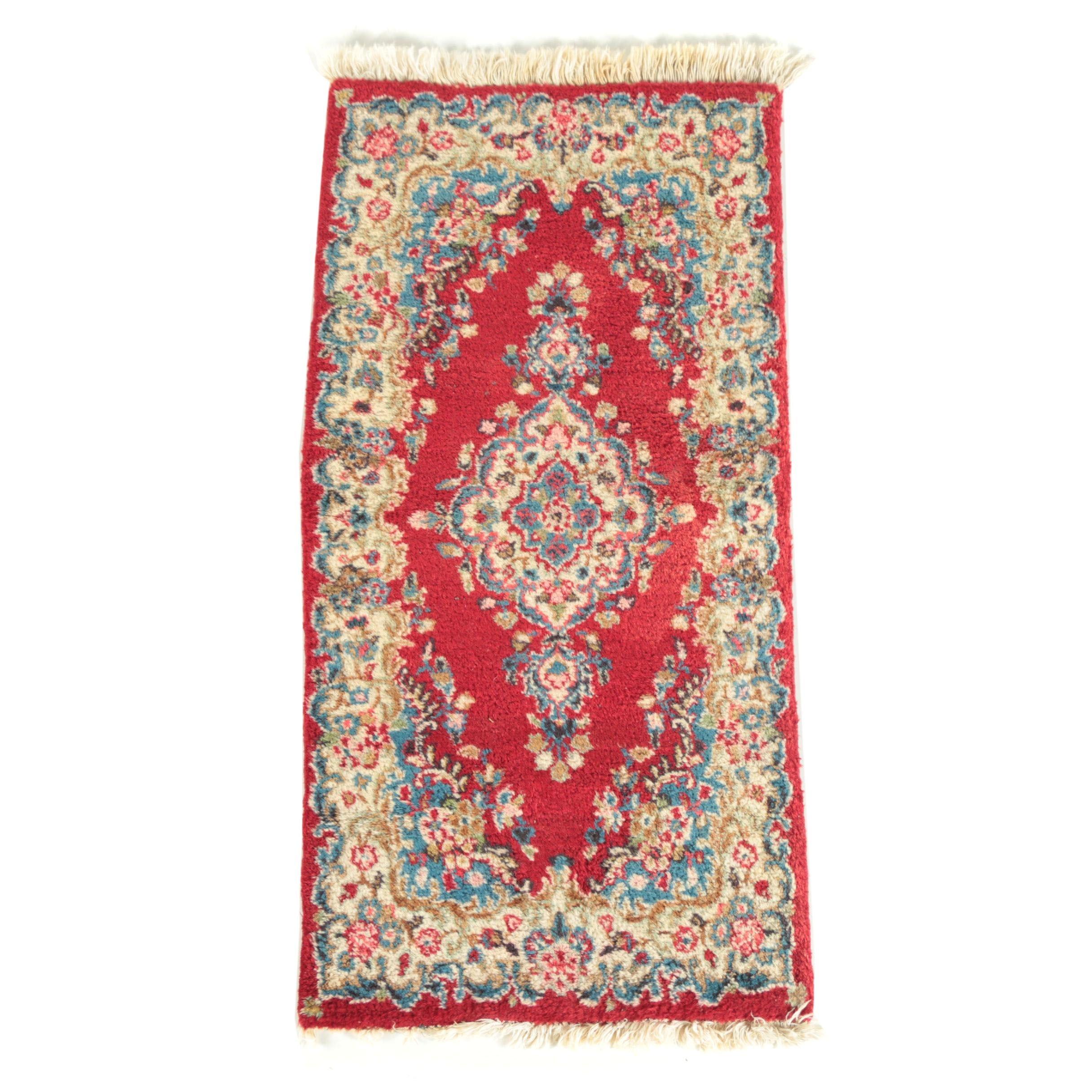 Hand-Knotted Persian Kerman Wool Rug
