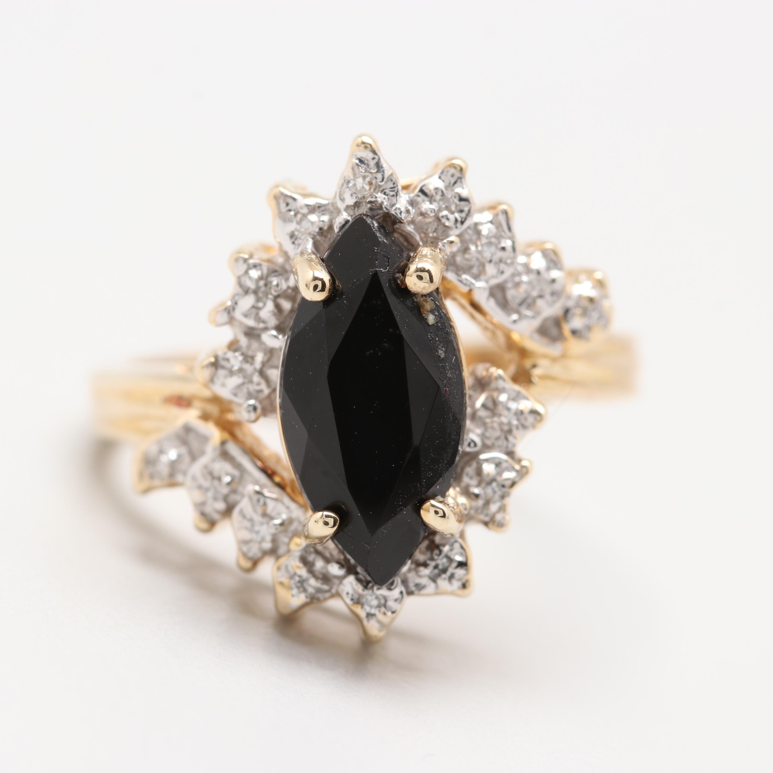 10K Yellow Gold Black Onyx and Diamond Ring