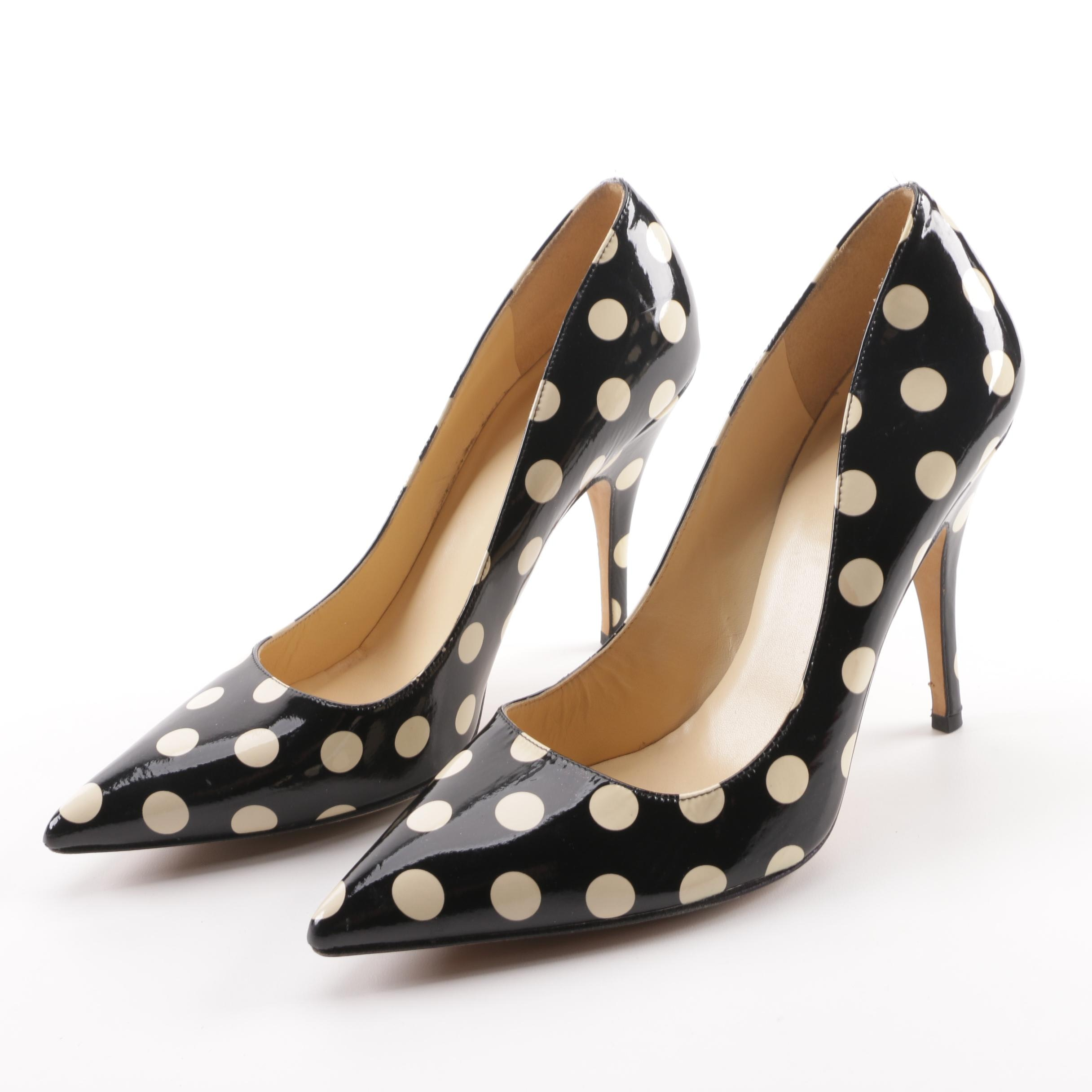 Kate Spade New York Black and Cream Patent Leather Polka Dot Pumps