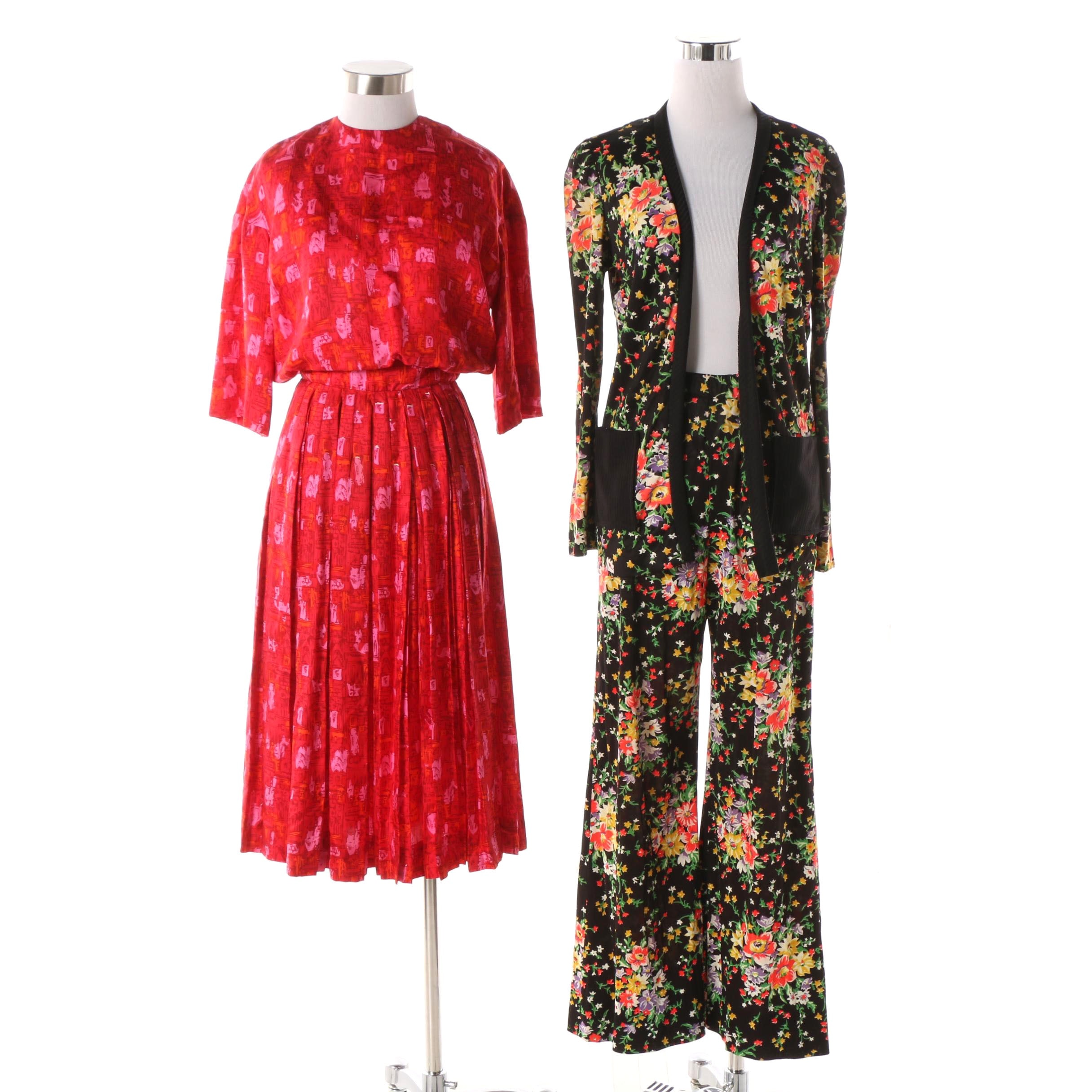 Vintage Knife Pleat Dress and Floral Pattern Bell Bottom Pants and Jacket Set