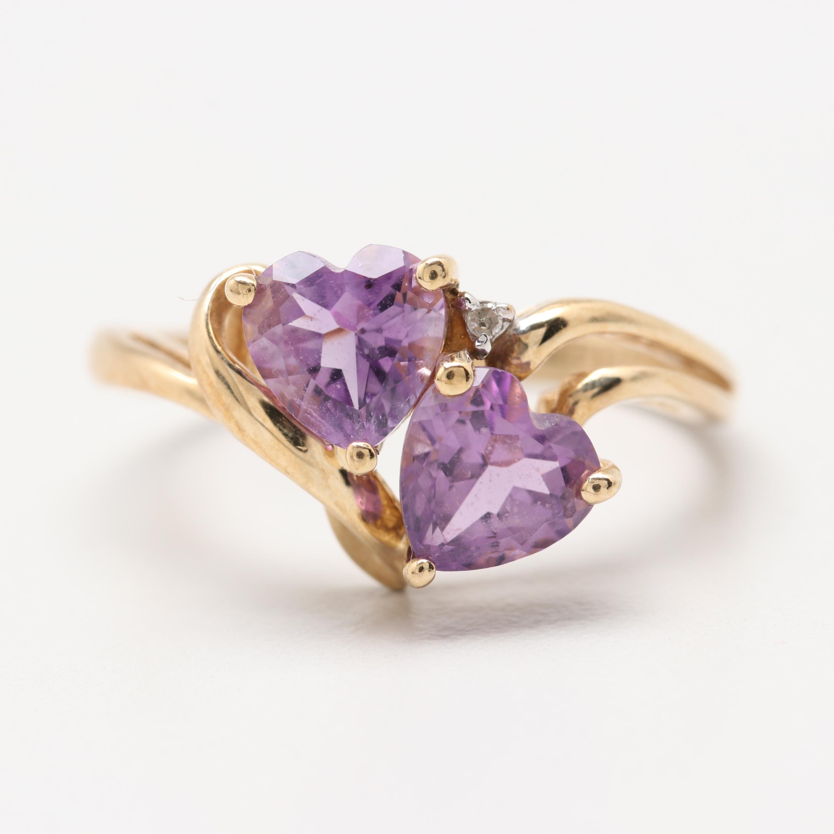 10K Yellow Gold Amethyst with Diamond Ring