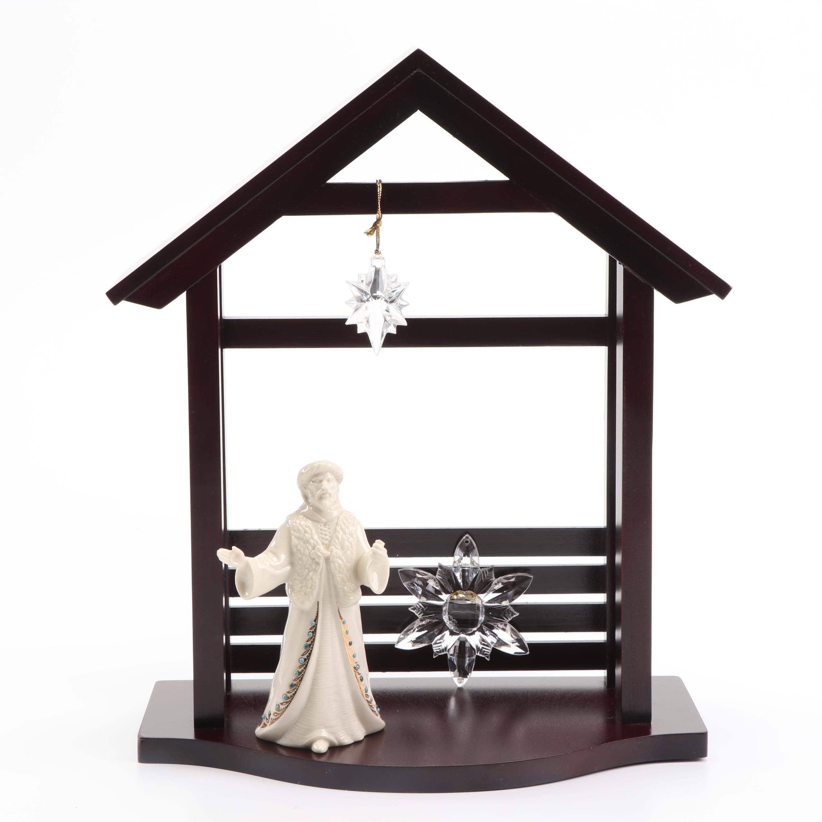 """Lenox """"First Blessing"""" Crèche Figurine and Wooden Manger"""