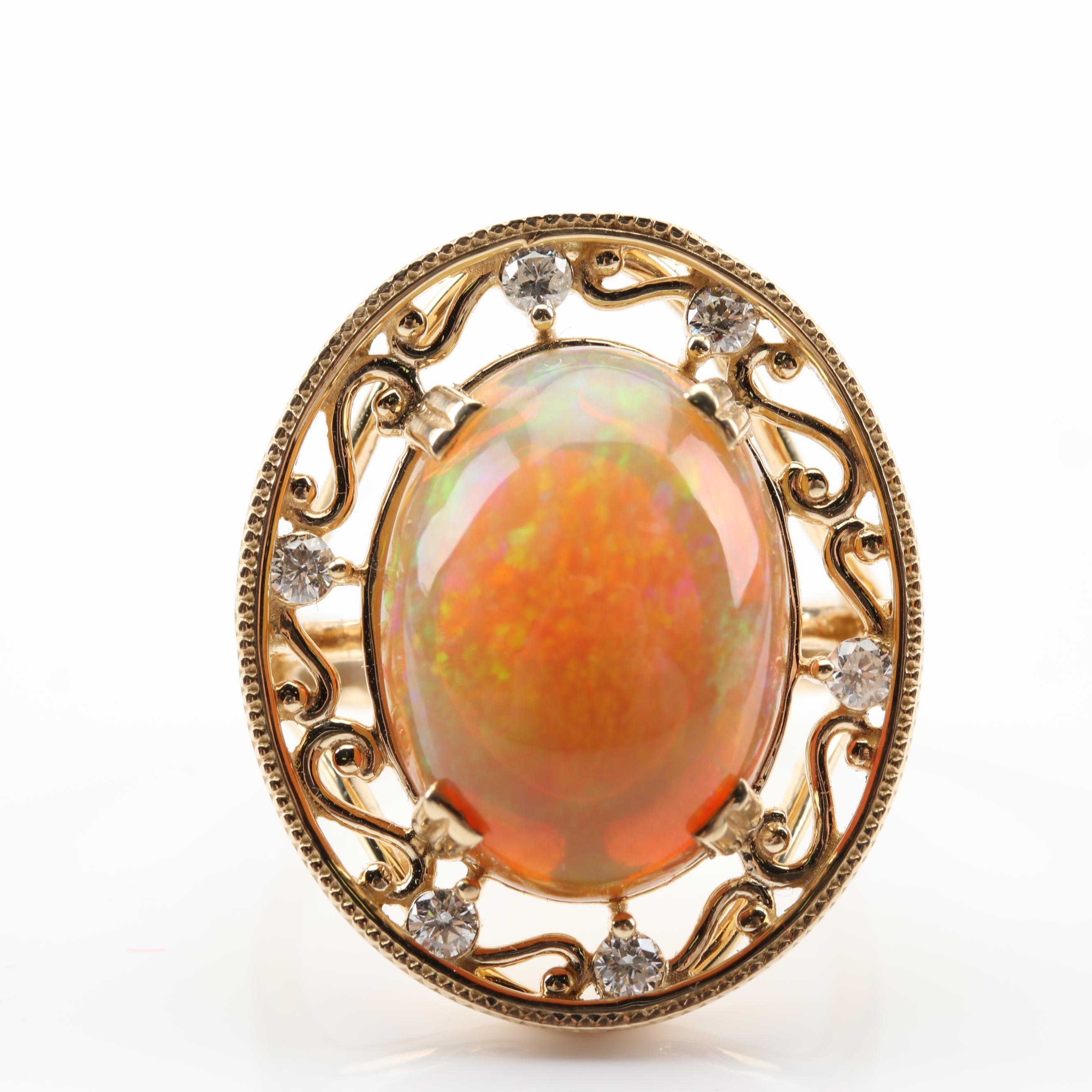 14K Yellow Gold 5.90 CT Opal and Diamond Ring