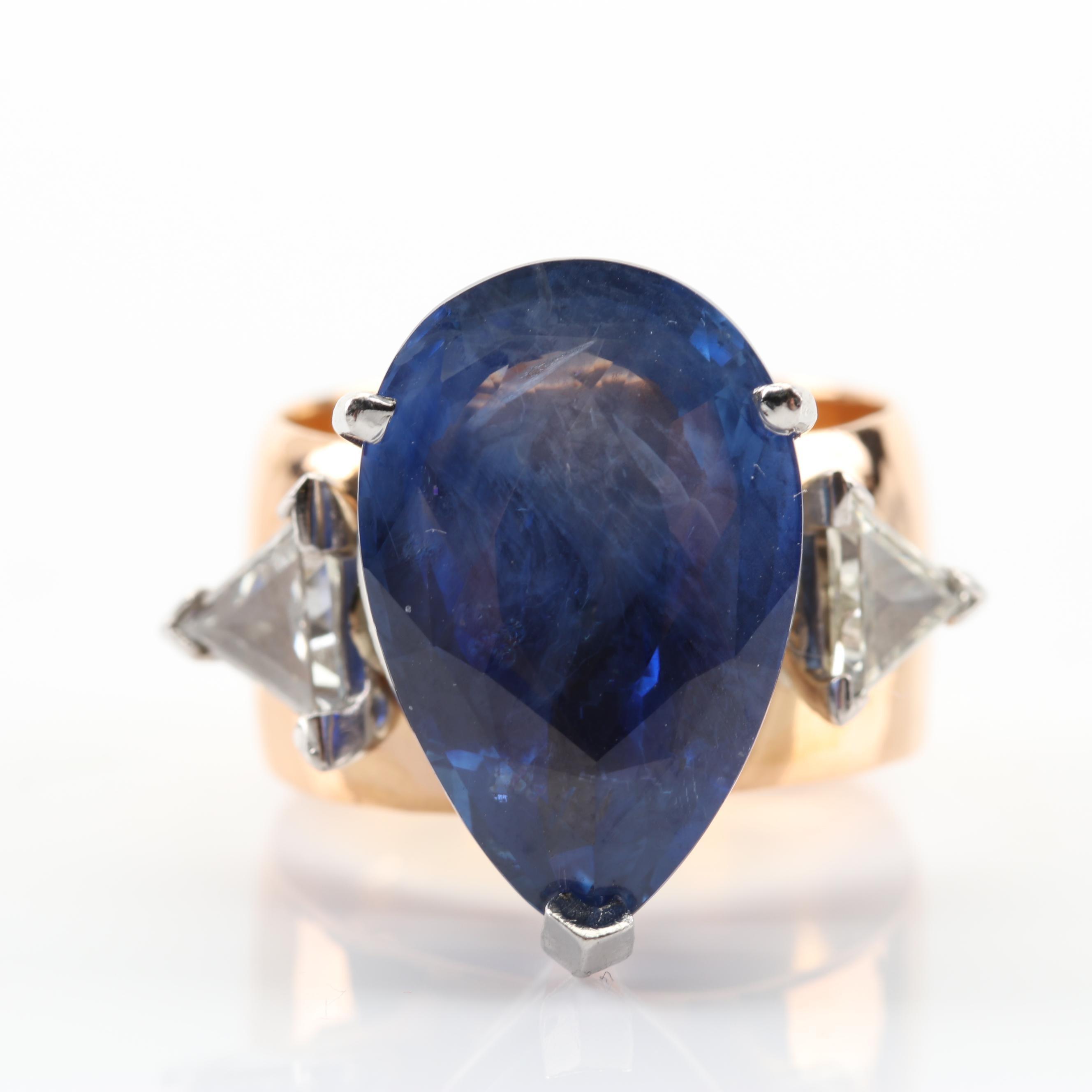 Samuel Hope 18K Yellow Gold 10.13 CT Sapphire and 1.00 CTW Diamond Ring
