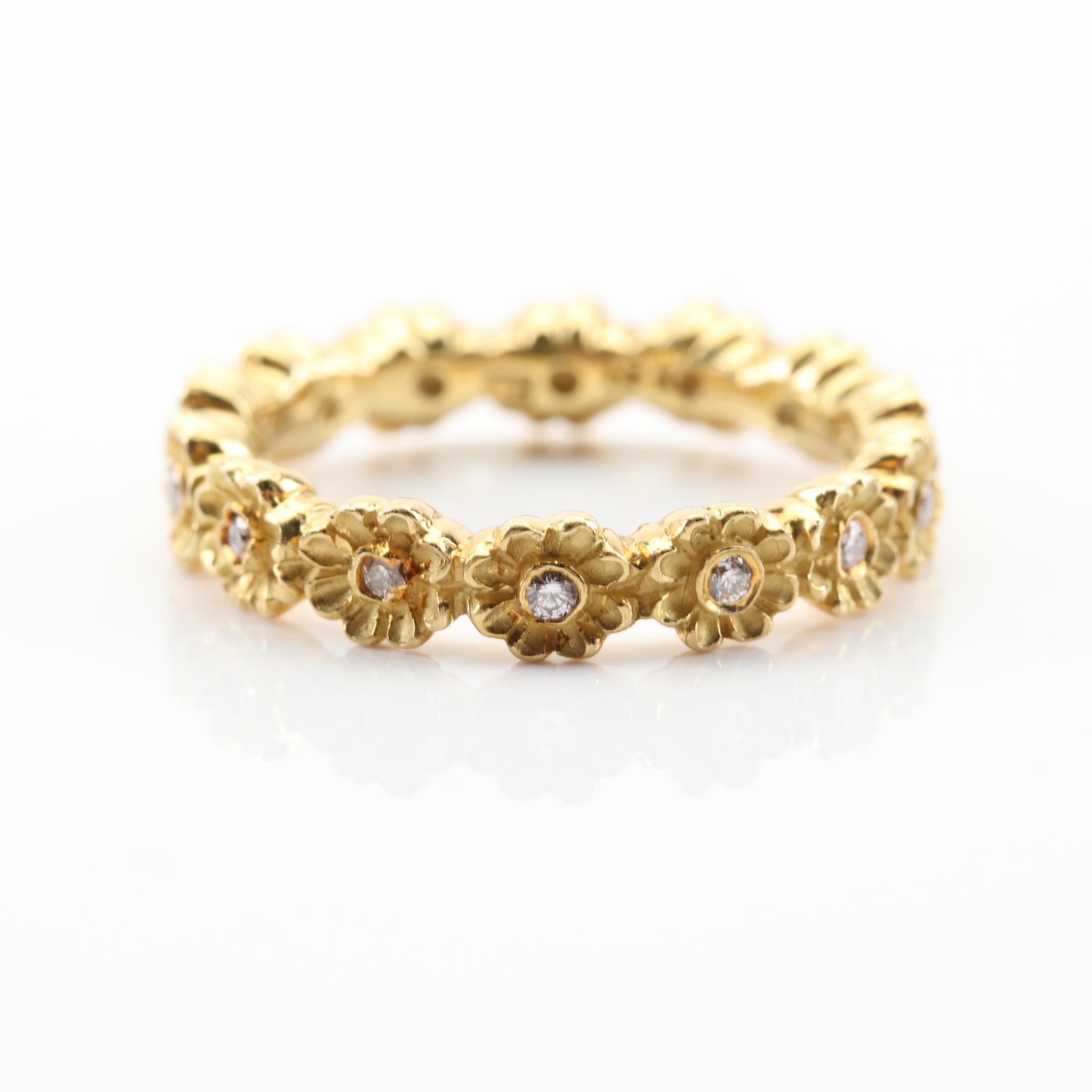 18K Yellow Gold Diamond Flower Ring