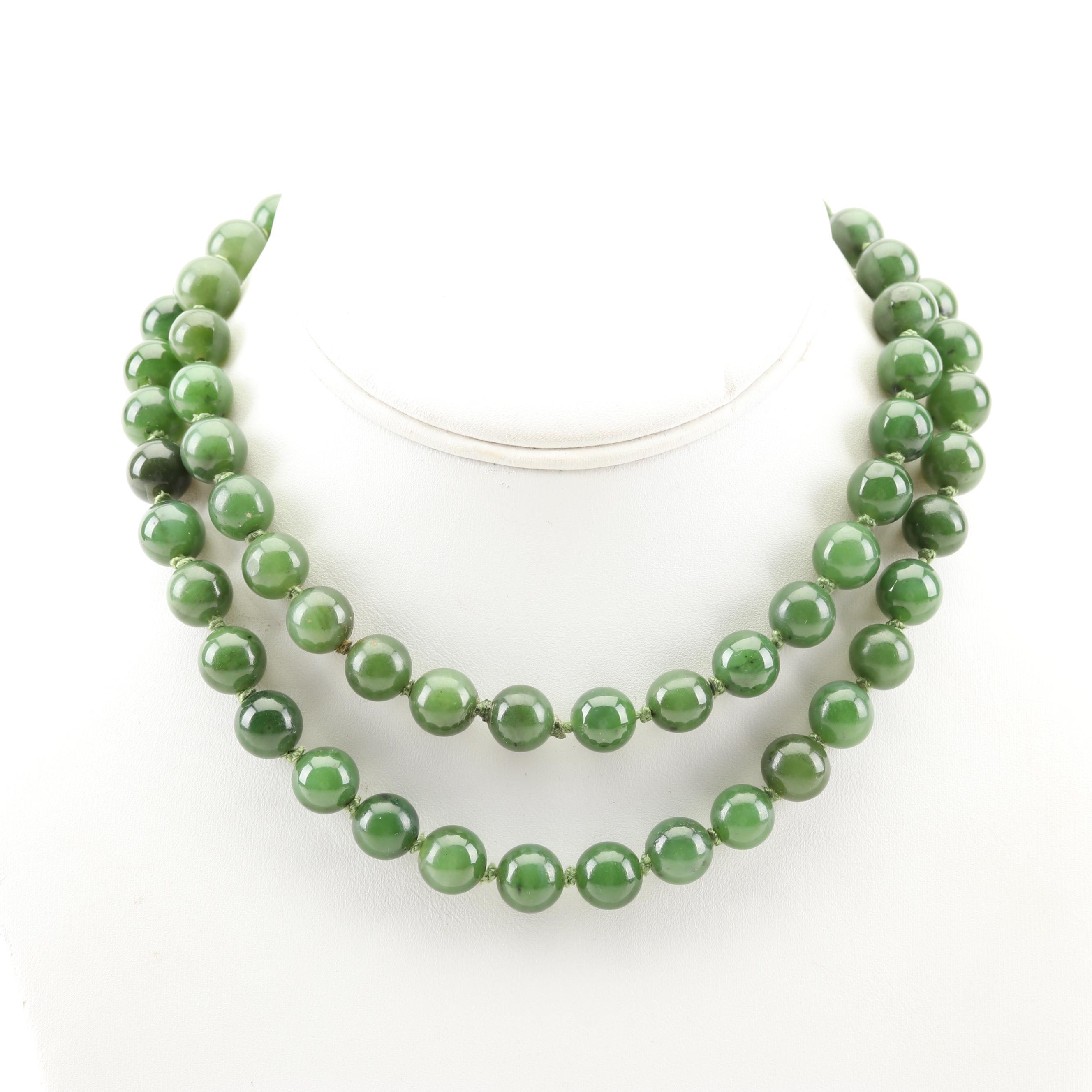 Hand Knotted Beaded Nephrite Necklace