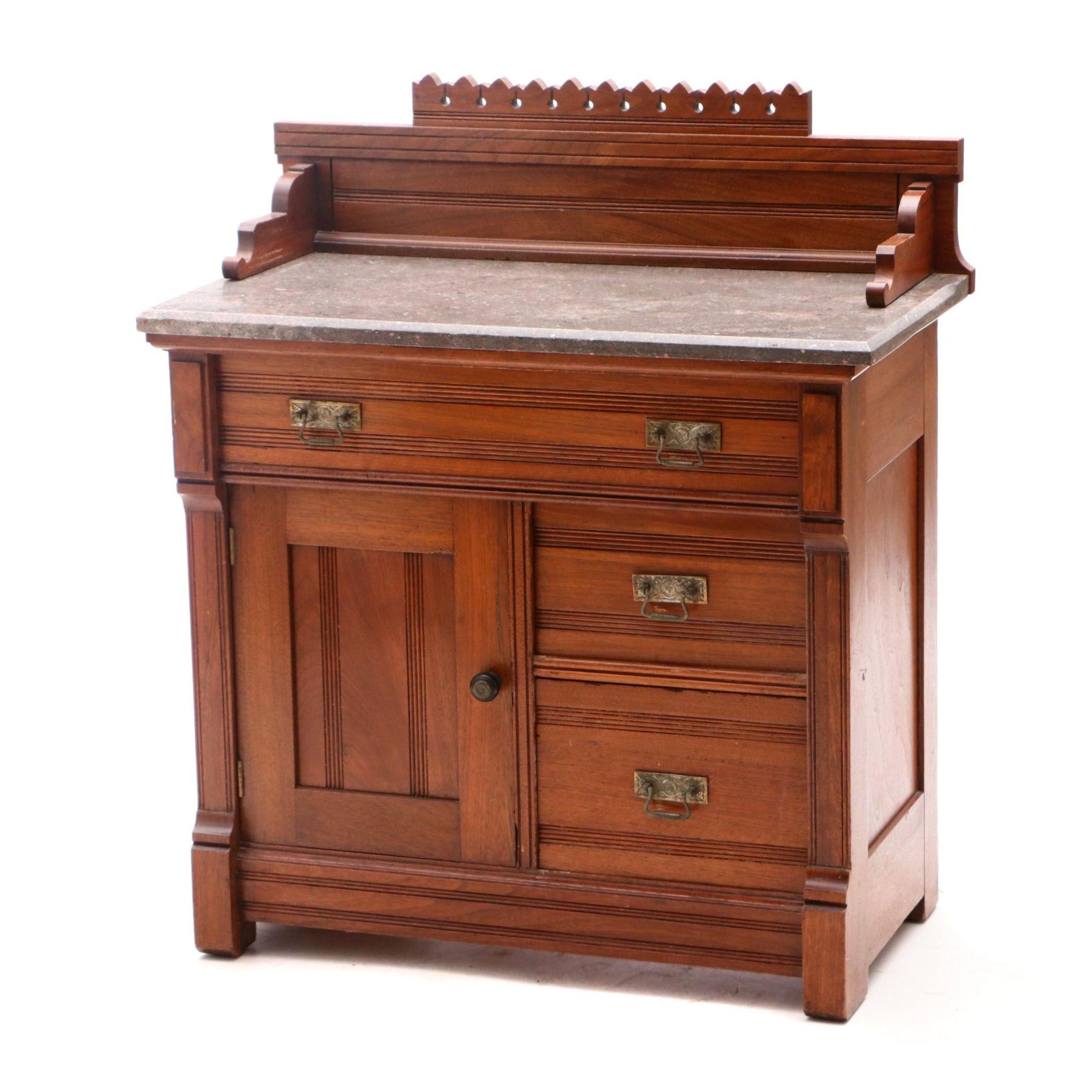 Eastlake Style Marble Top Wash Stand Cabinet in Oak by Berkey & Gay