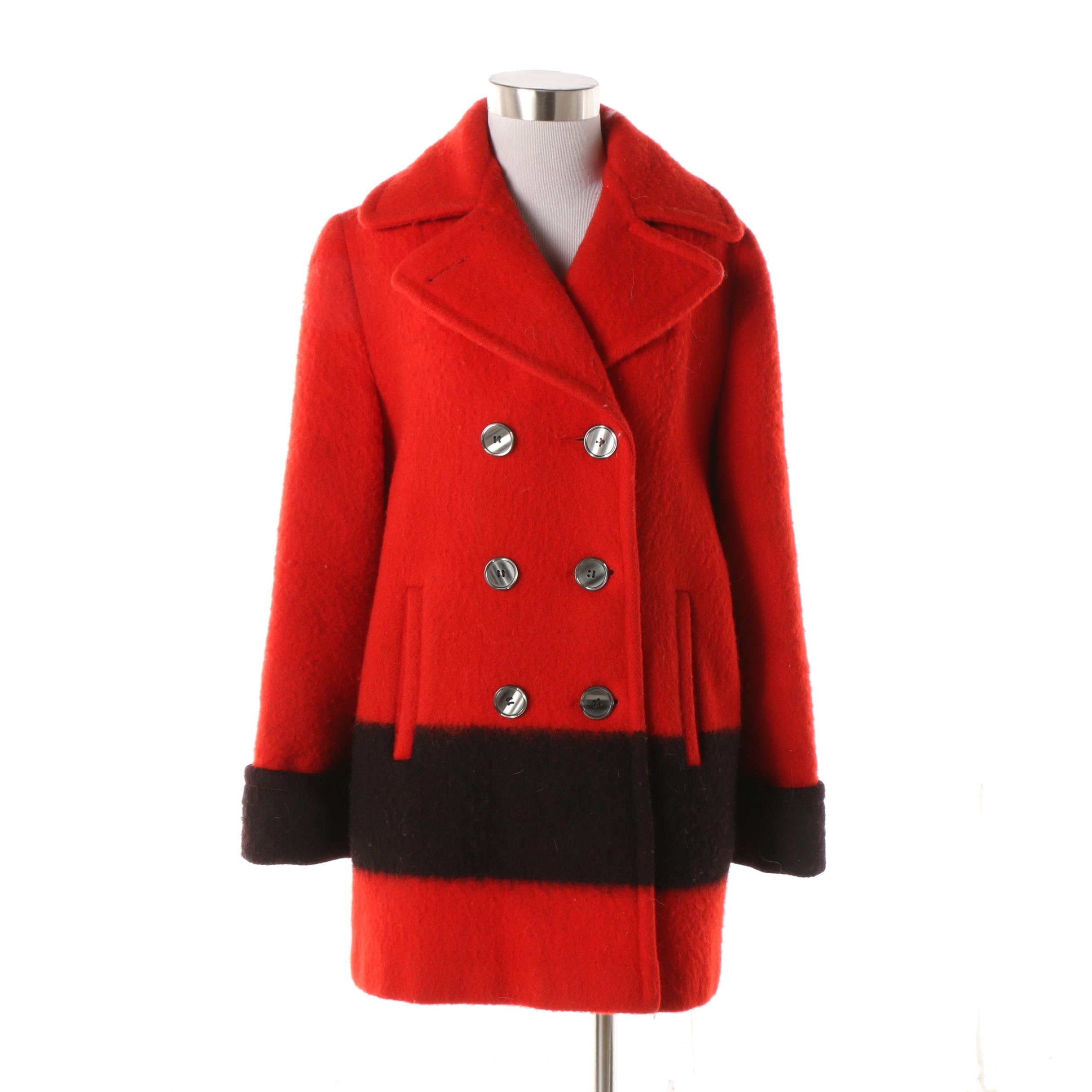 Women's Vintage Hudson's Bay Red Wool Double-Breasted Blanket Coat