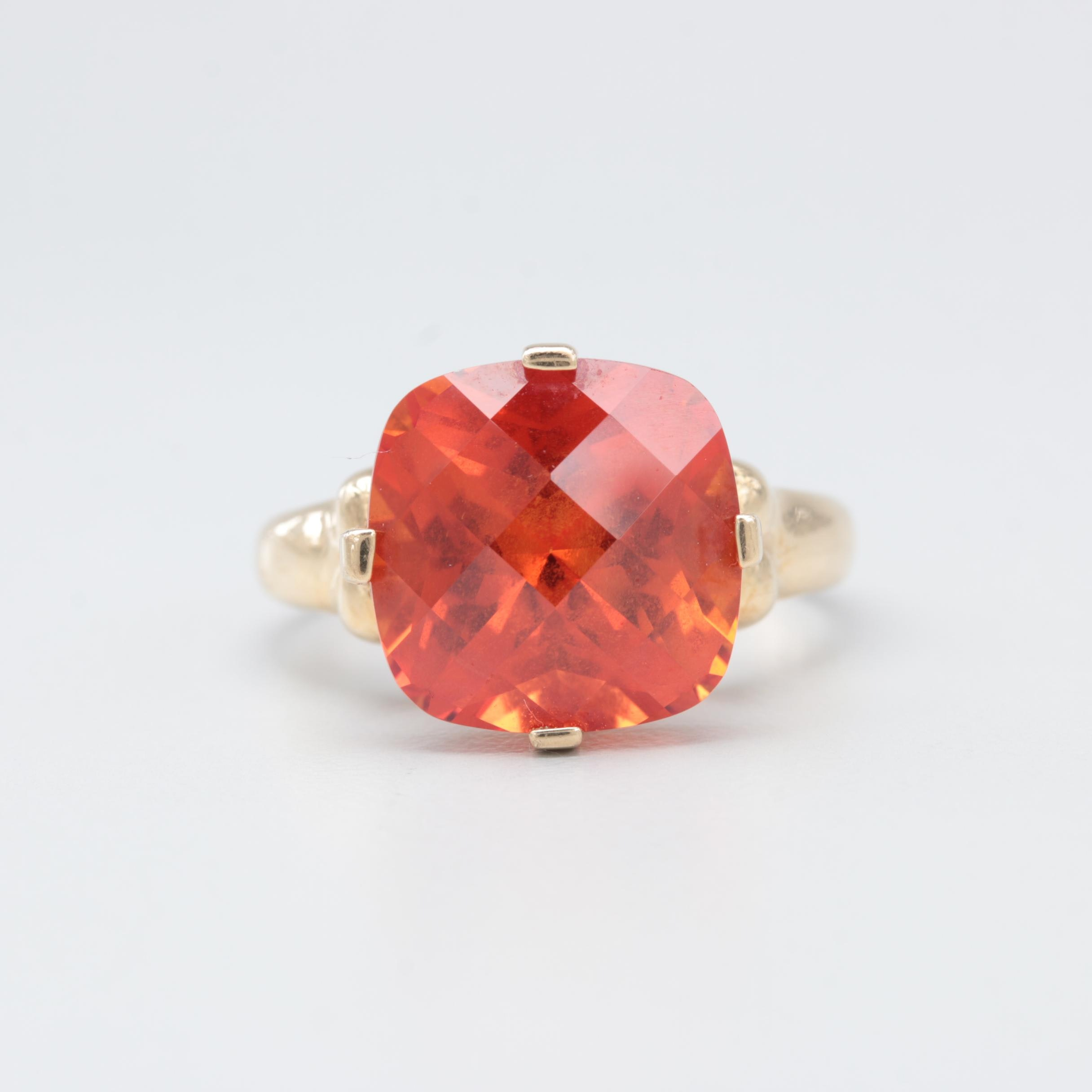 10K Yellow Gold Synthetic Orange Sapphire Ring