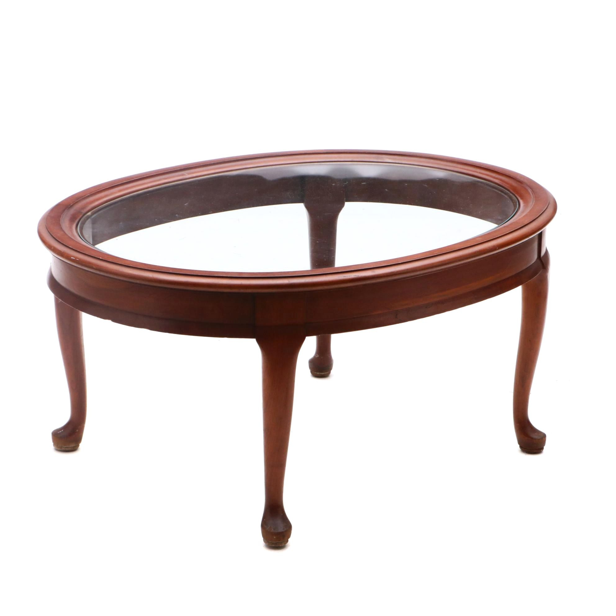 Oval Glass Top Wooden Coffee Table