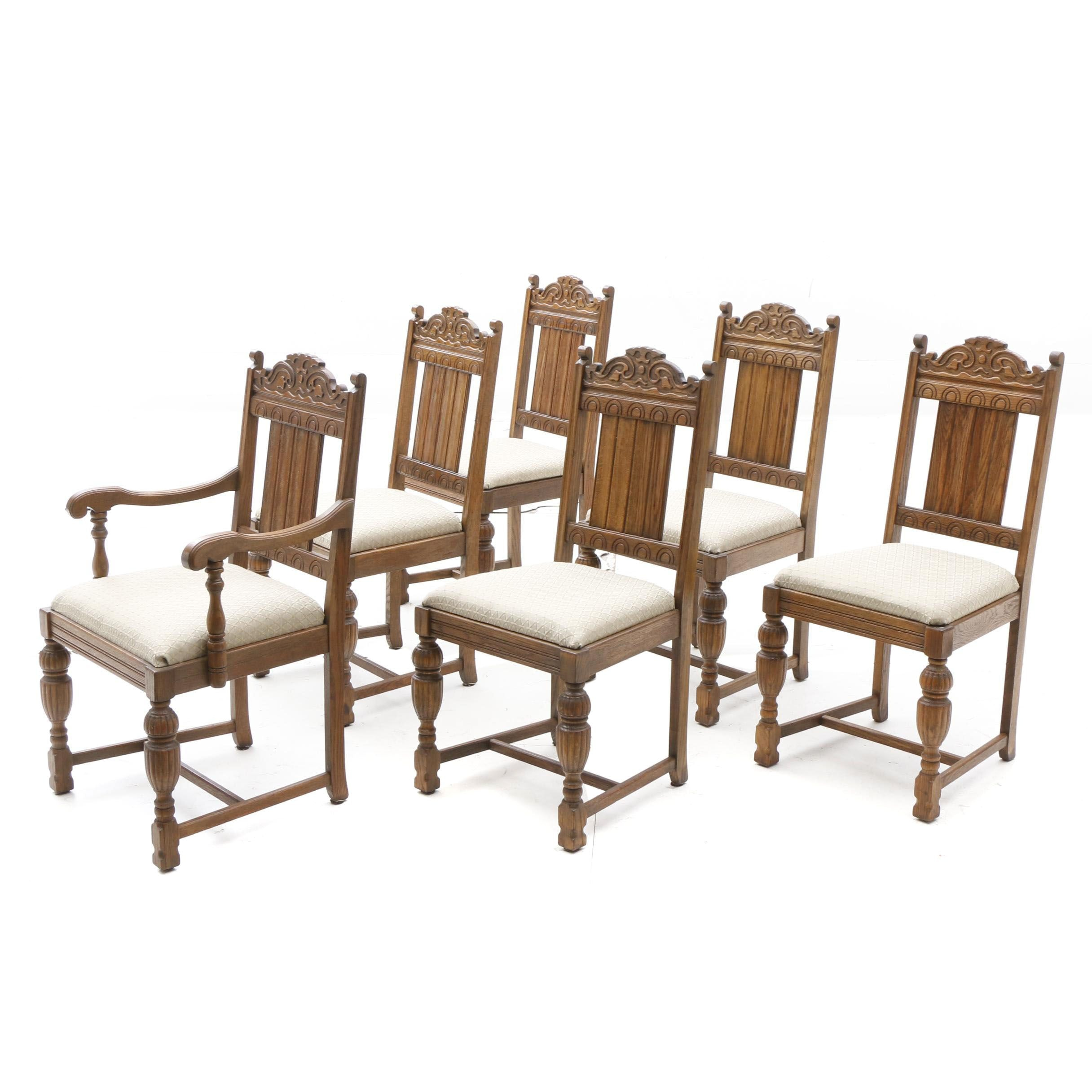 Early 20th Century English Renaissance Style Oak Dining Chairs
