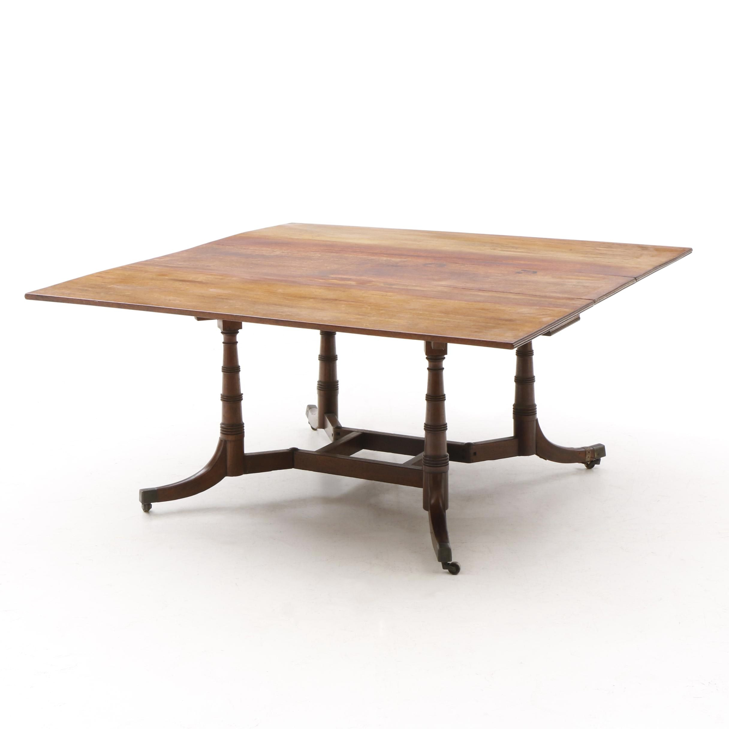 Regency Style Drop Leaf Table with Gate Leg Support in Mahogany