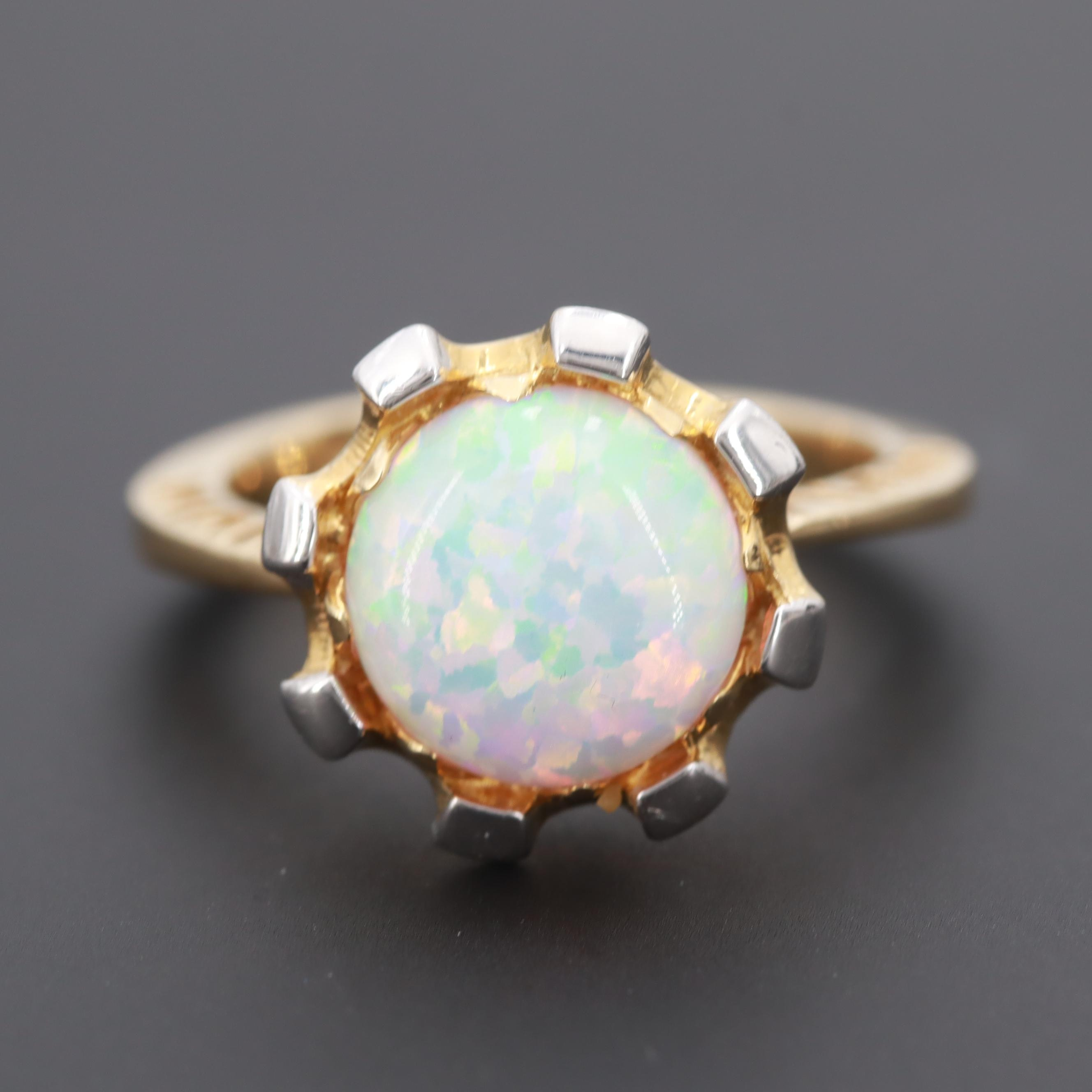 14K Yellow Gold Synthetic Opal Ring