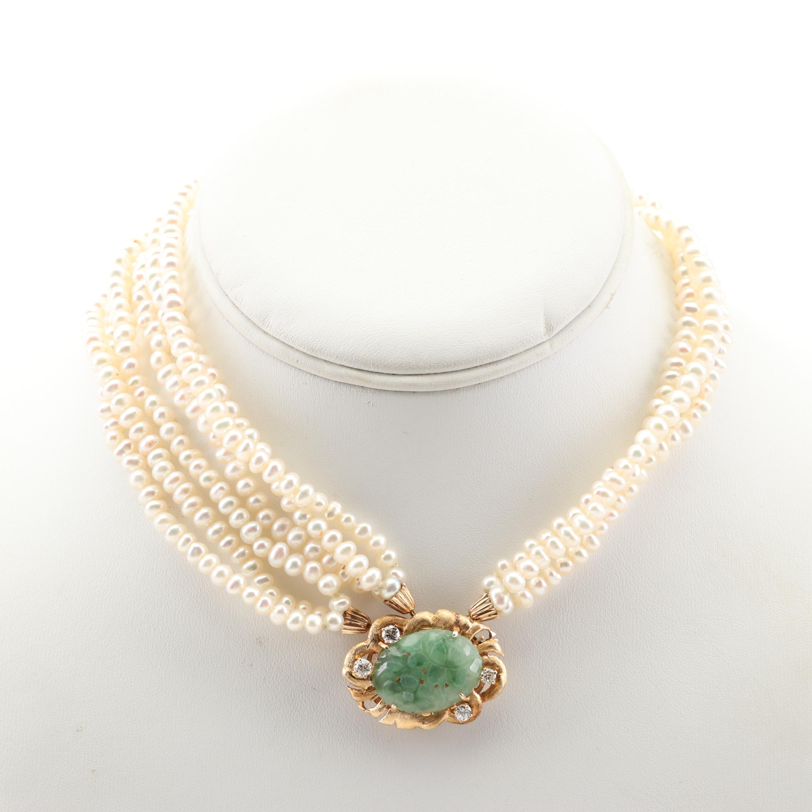 14K Yellow Gold Freshwater Pearl, Jadeite and Diamond Bracelet