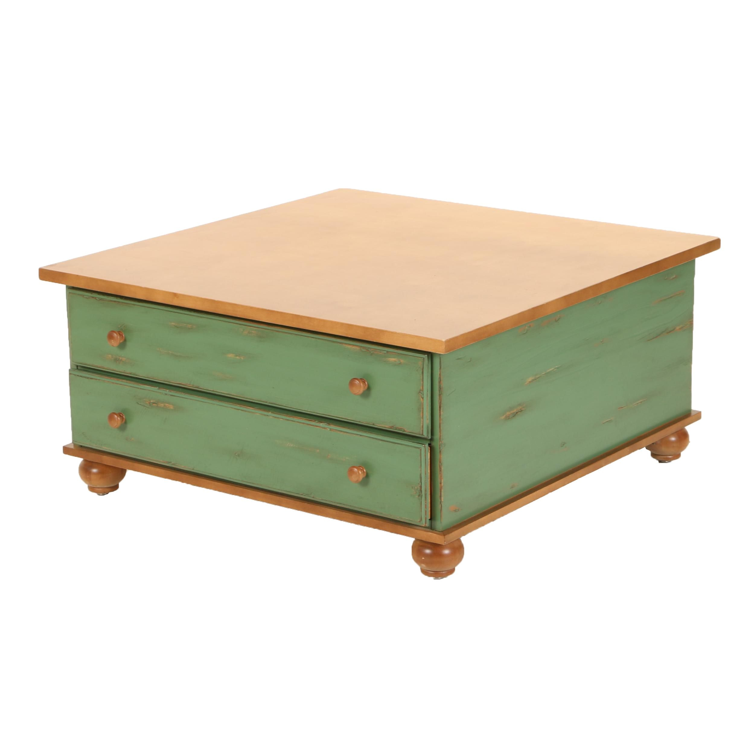 Contemporary Green-Painted Maple Coffee Table with Two Drawers by Lane