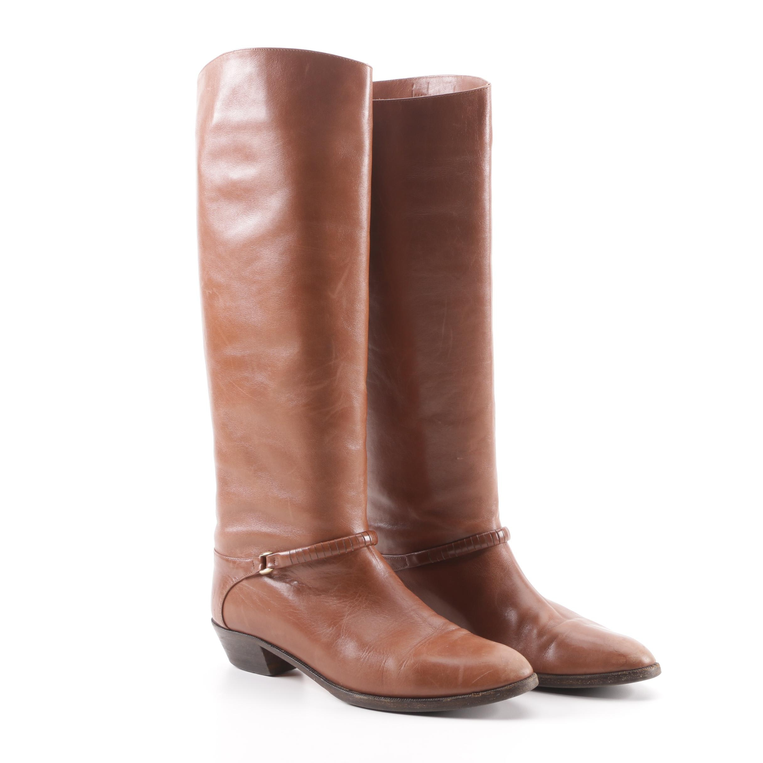 Joseph Brown Leather Tall Boots with Ankle Buckle