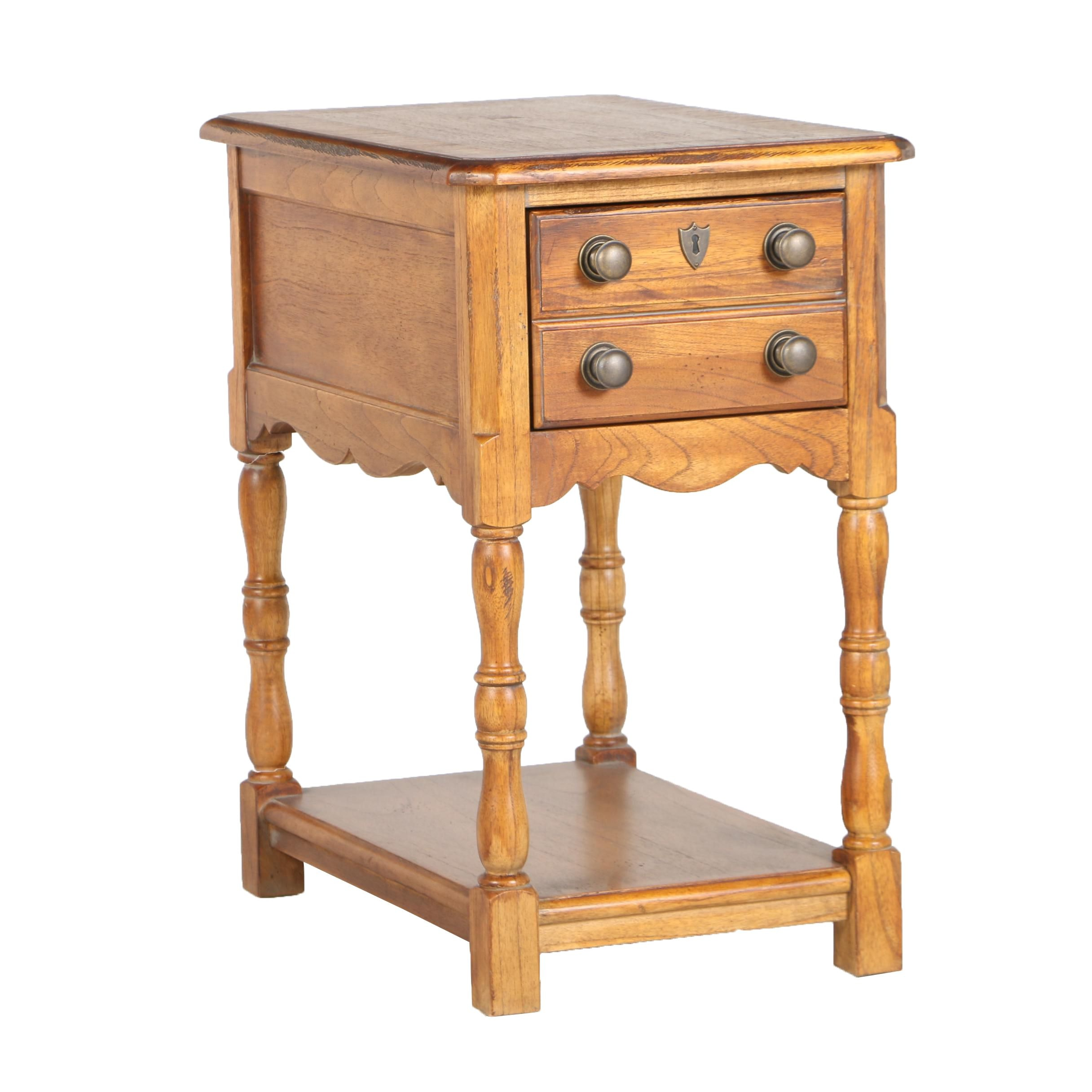 Contemporary William and Mary Style String-Inlaid Walnut Side Table by Hekman