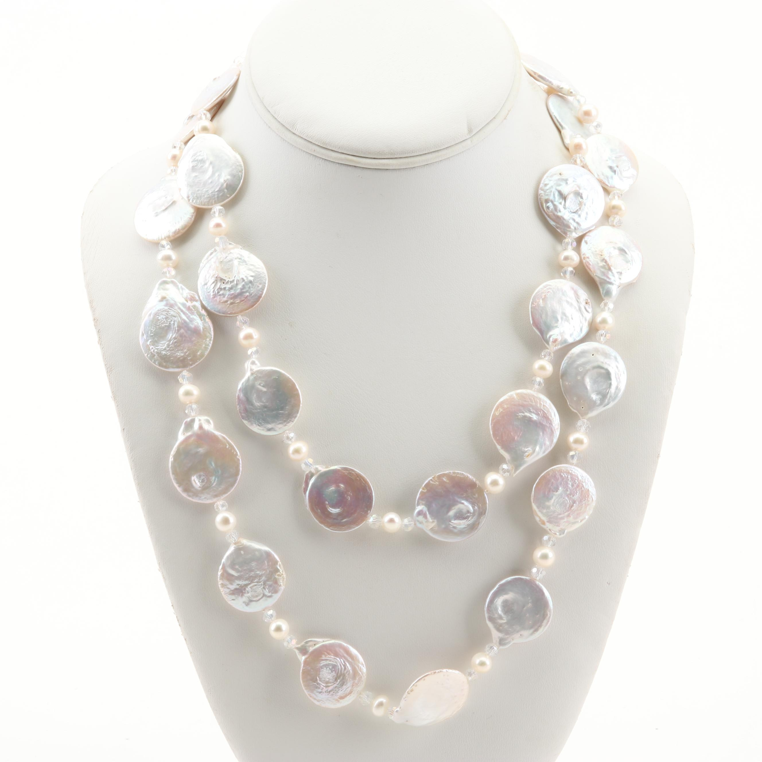 14K White Gold Cultured Coin and Oval Pearl Necklace