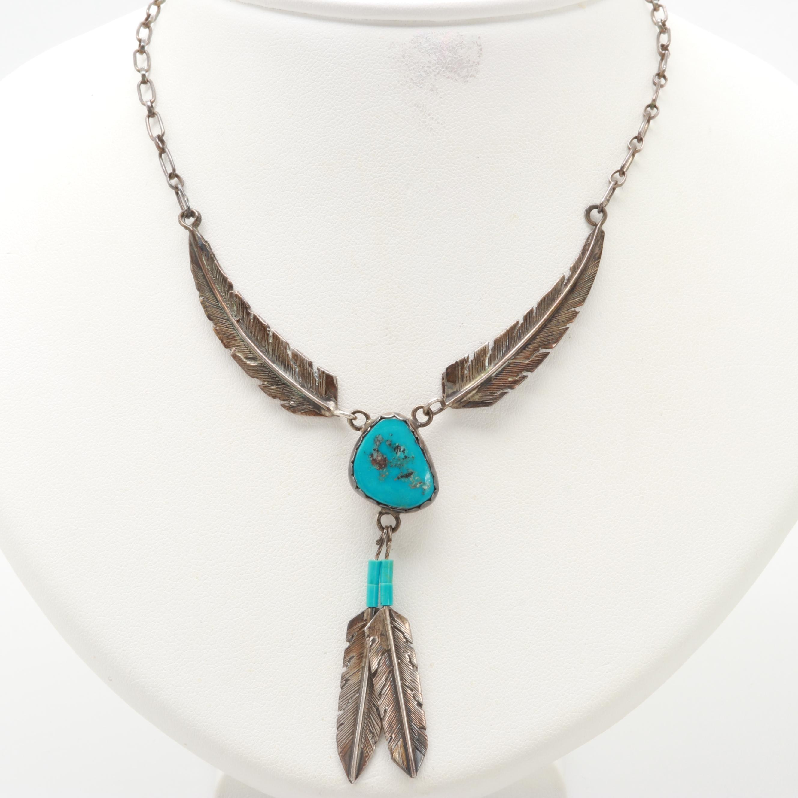 Les Baker Sterling Silver Turquoise and Imitation Turquoise Necklace
