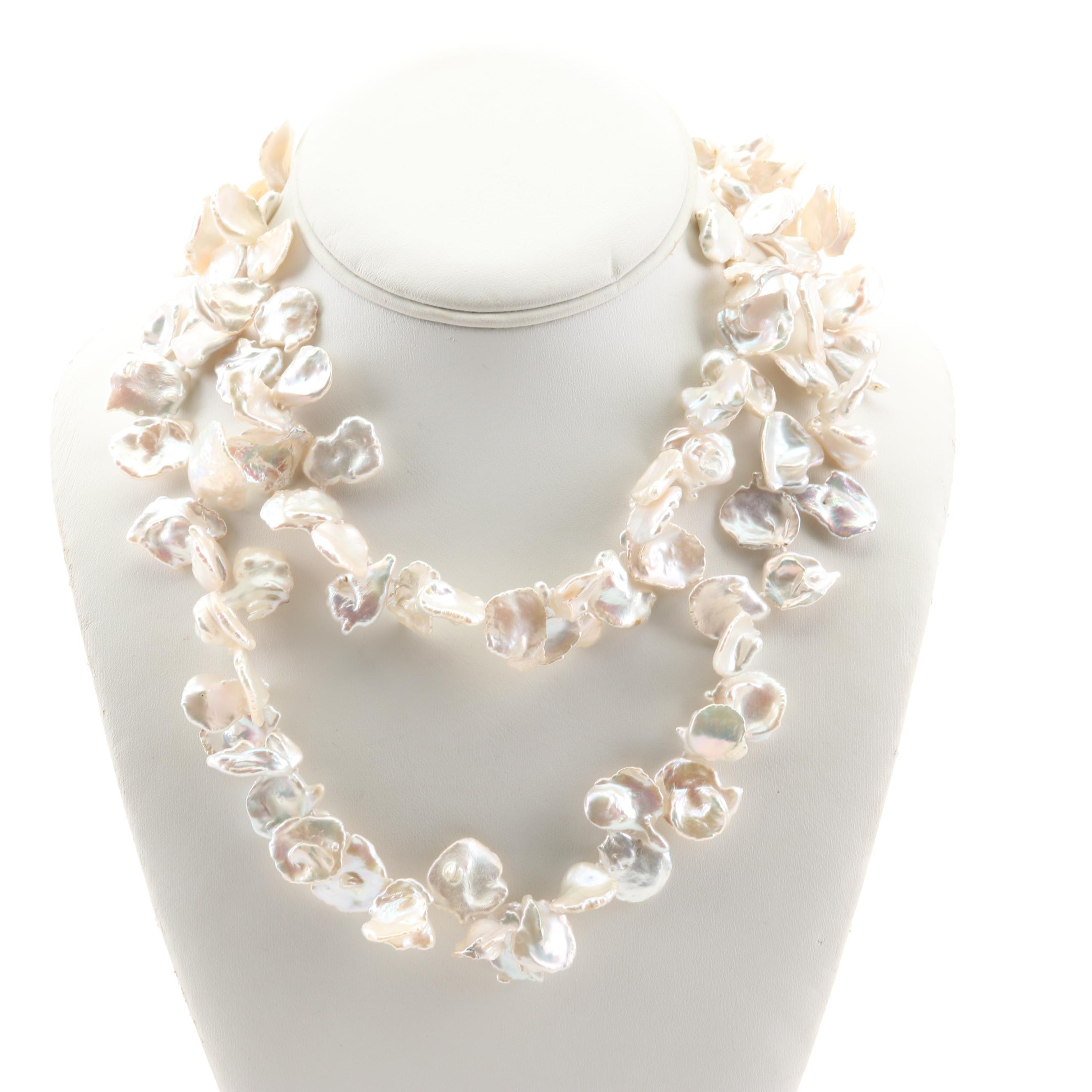 Sterling Silver Cultured Freshwater Freeform Pearl Necklace