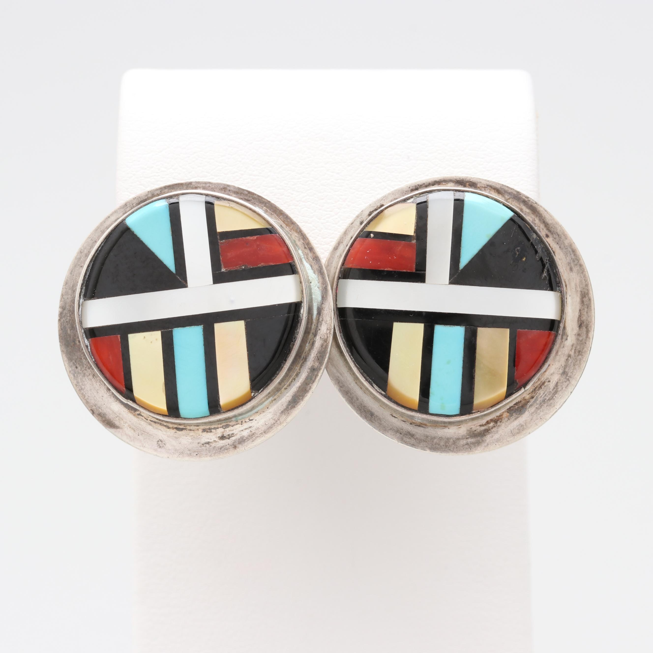 K. Wallace Zuni Sterling Turquoise, Coral and Mother of Pearl Mosaic Earrings