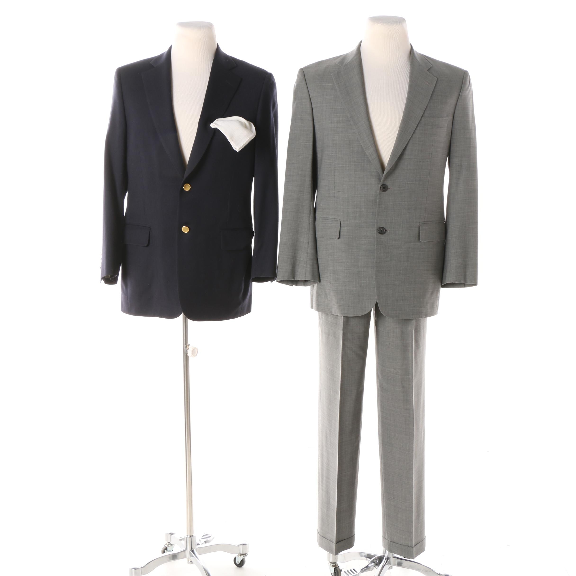 Brooks Brothers Two-Piece Suit and Paul Stuart Blazer with White Handkerchief